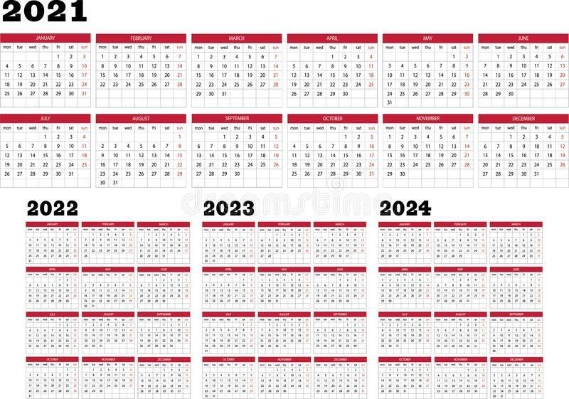 Calendar Year 2021 2022 2023 2024 Stock Vector