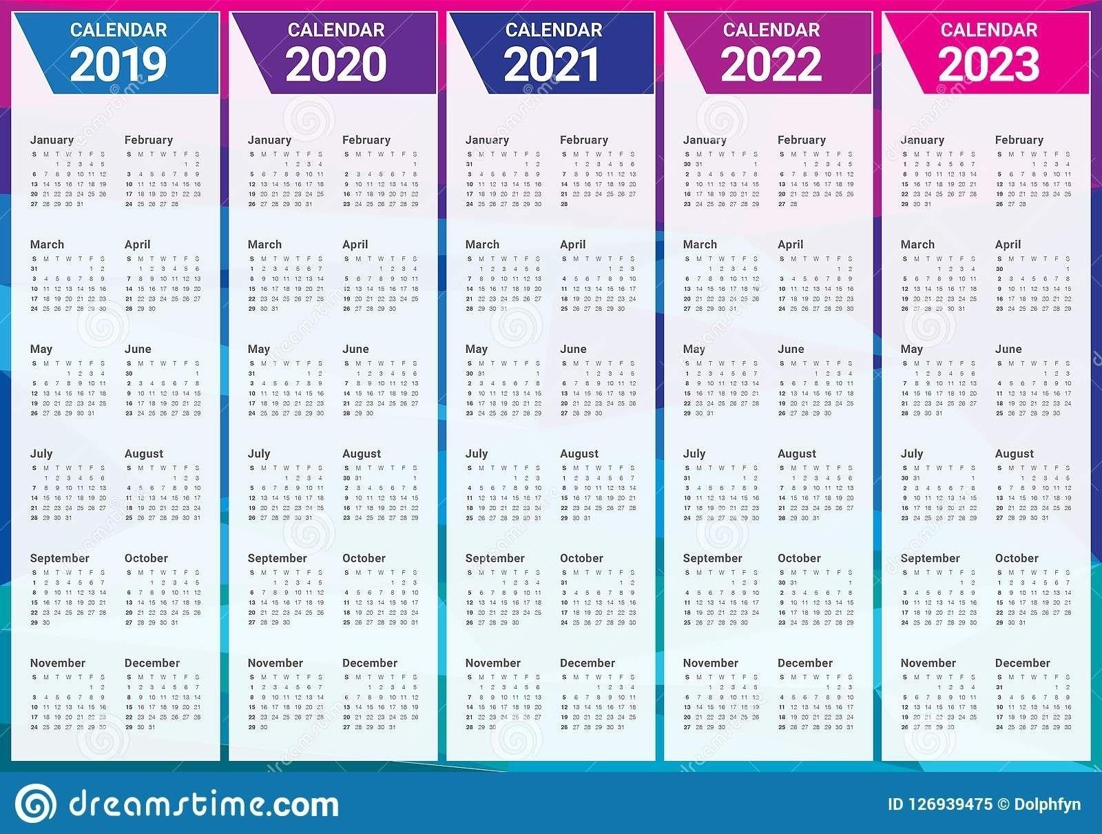 Calendar Years 2019 2020 2021 2022 2023 - Calendar