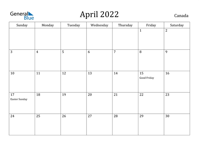 Canada April 2022 Calendar With Holidays