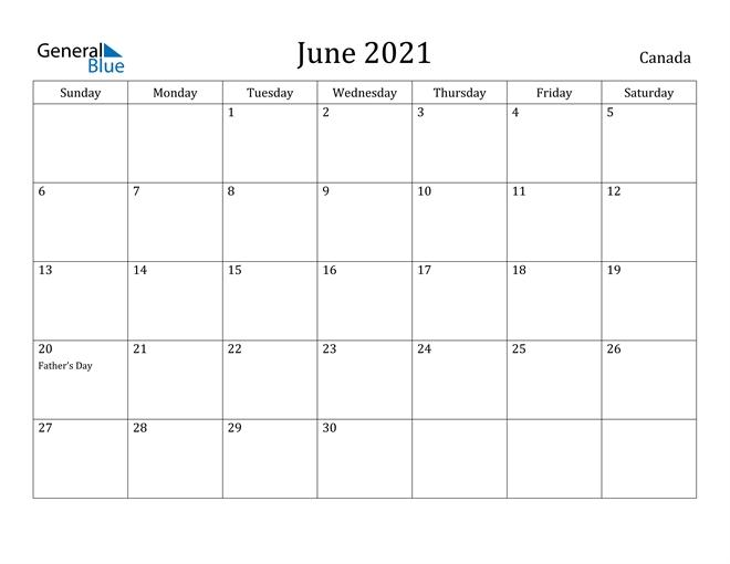 Canada June 2021 Calendar With Holidays