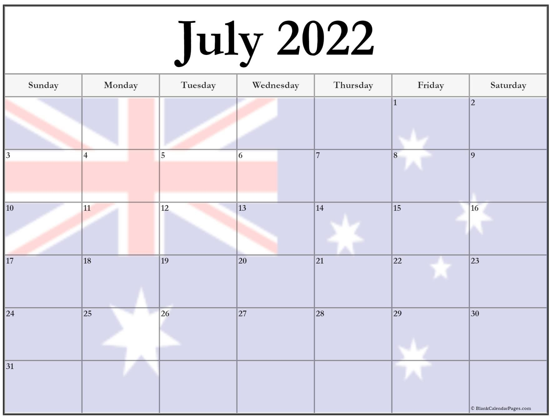 Collection Of July 2022 Photo Calendars With Image Filters.