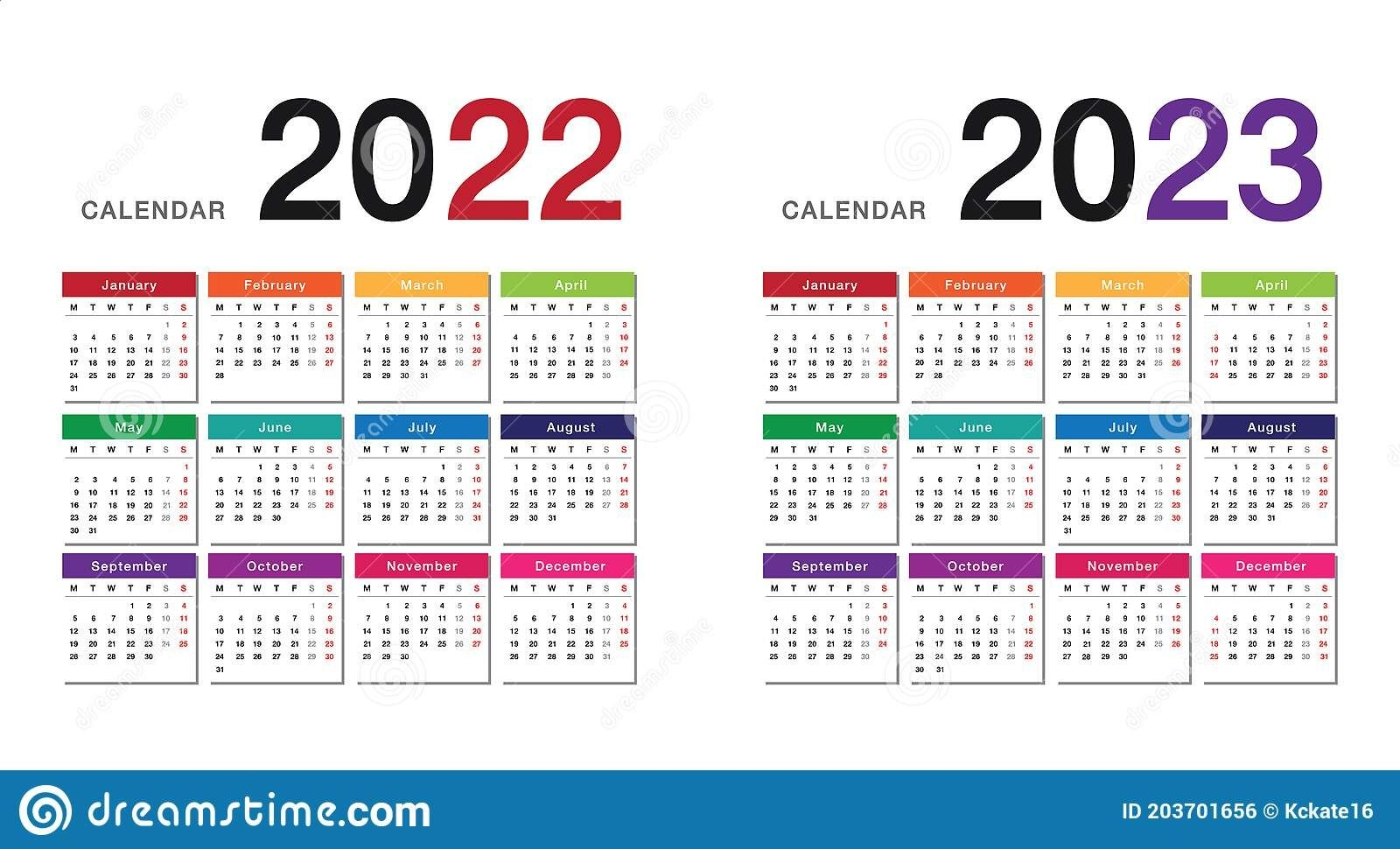 Colorful Year 2022 And Year 2023 Calendar Horizontal