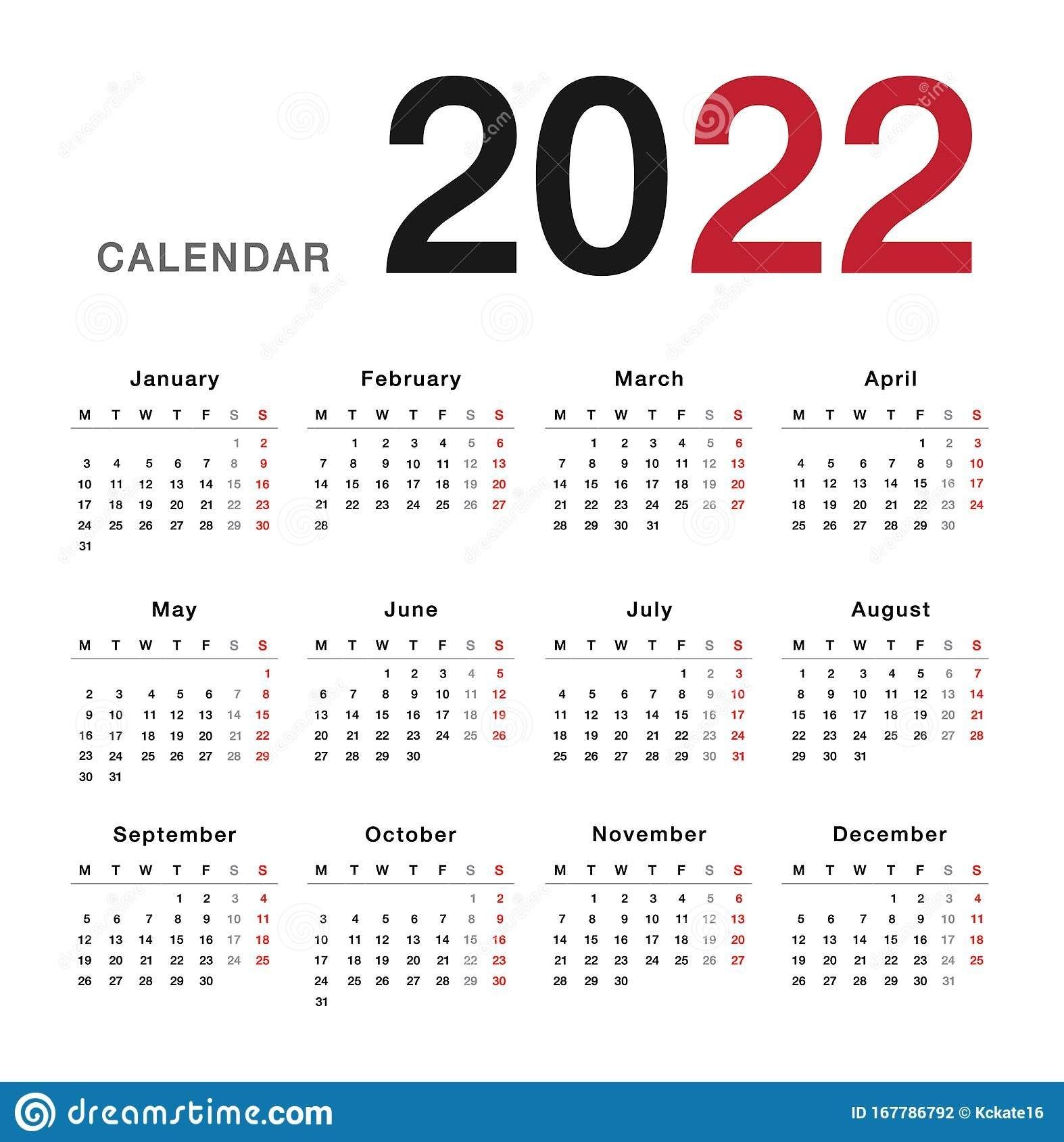 Colorful Year 2022 Calendar Horizontal Vector Design