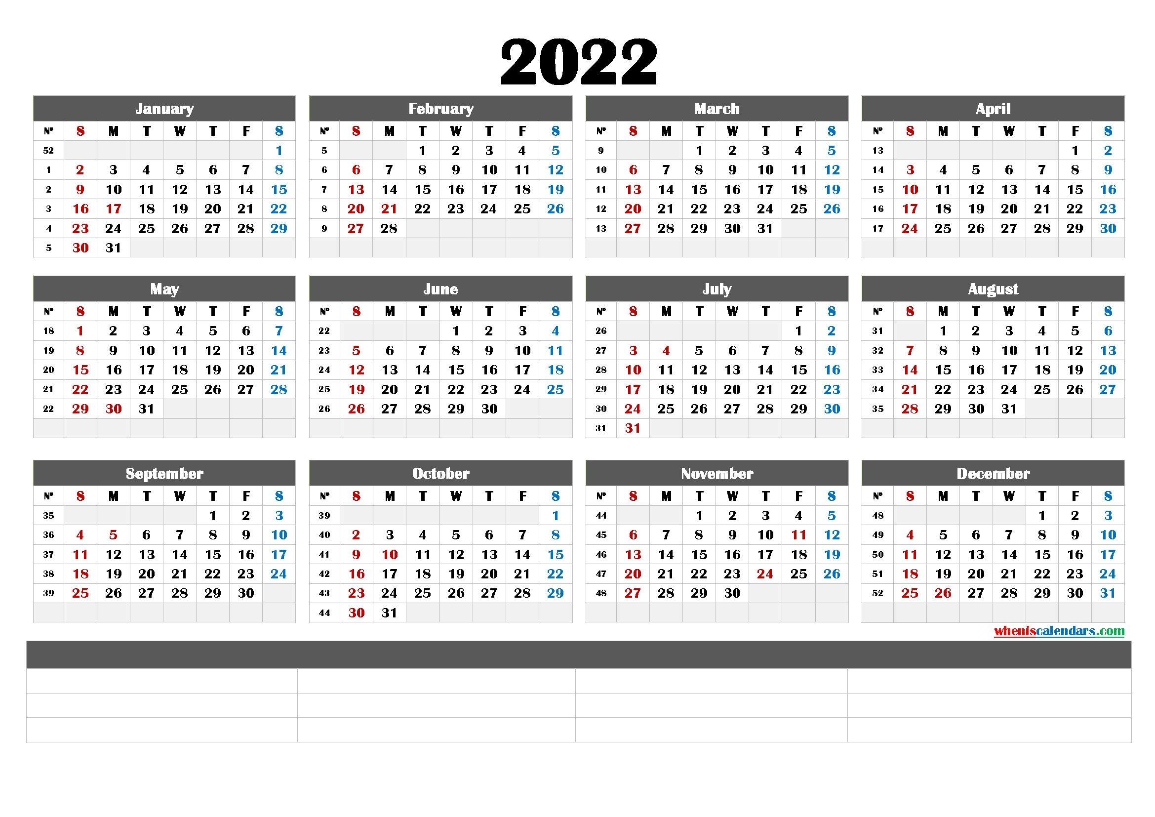 Cute Printable Calendar 2022 - Calendraex