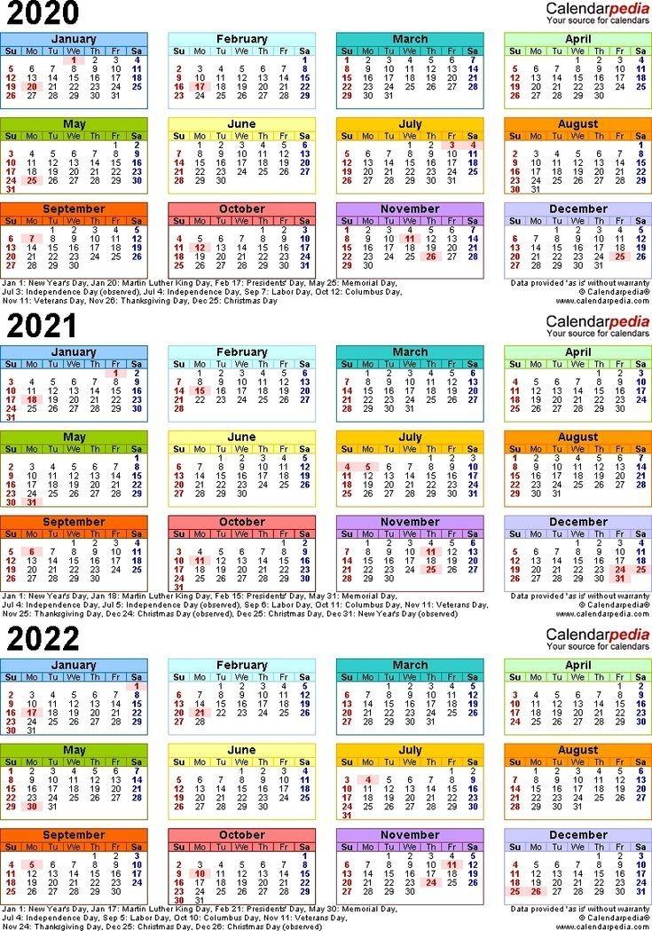 Dashing 3 Year Calendar 2020 To 2022 | Yearly Calendar