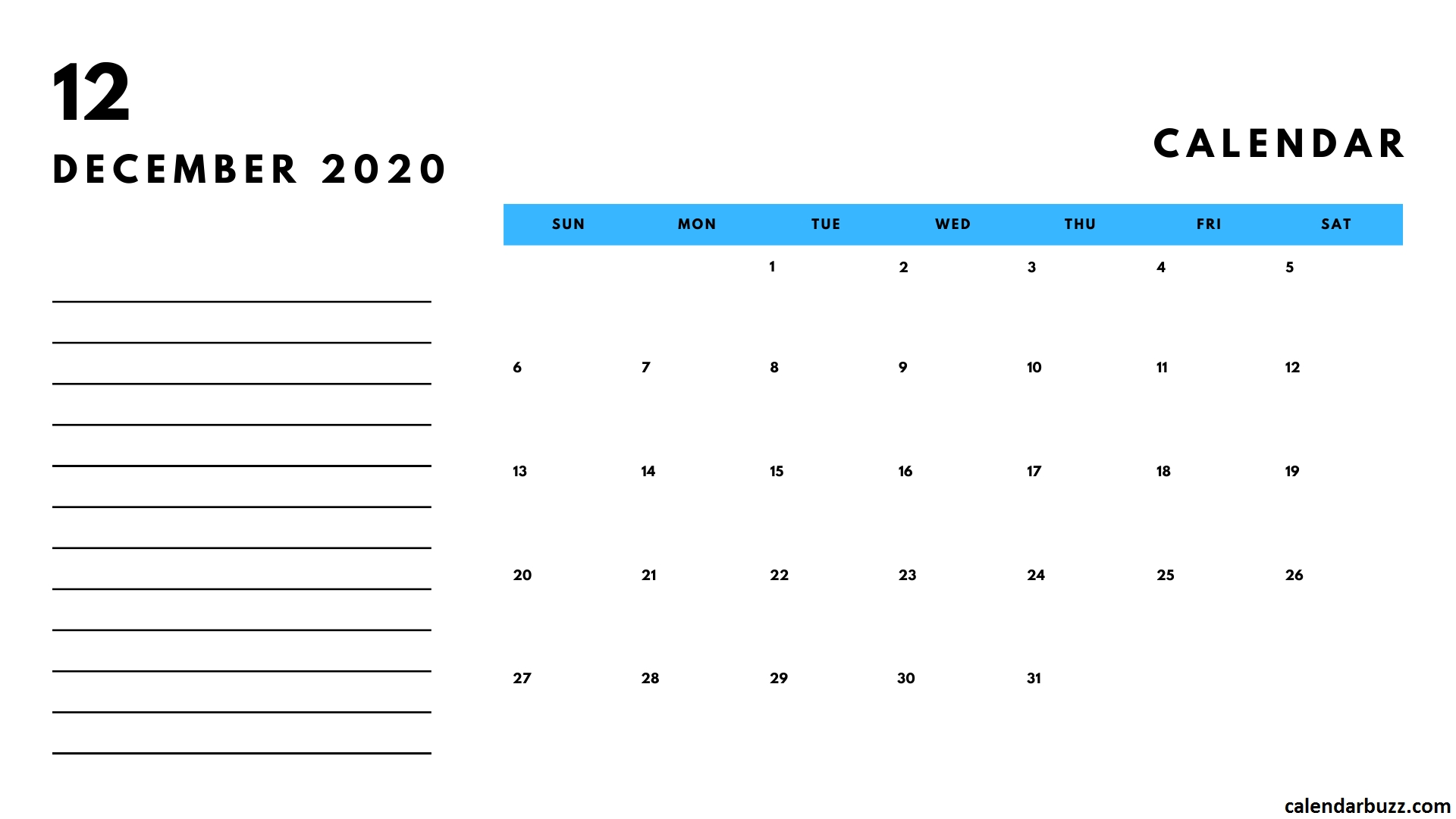 December 2020 Calendar With Notes   Calendar, Calendar