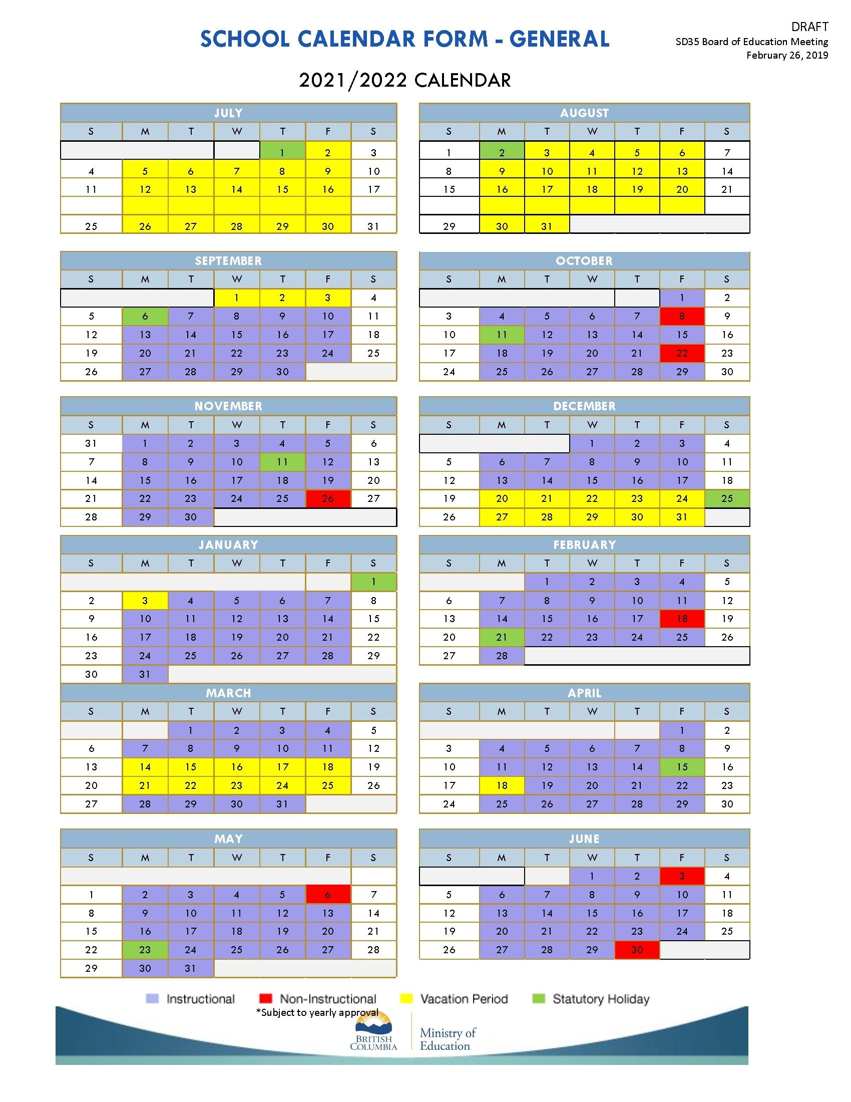 District Calendars 2019 2022 School District No 35   Qualads