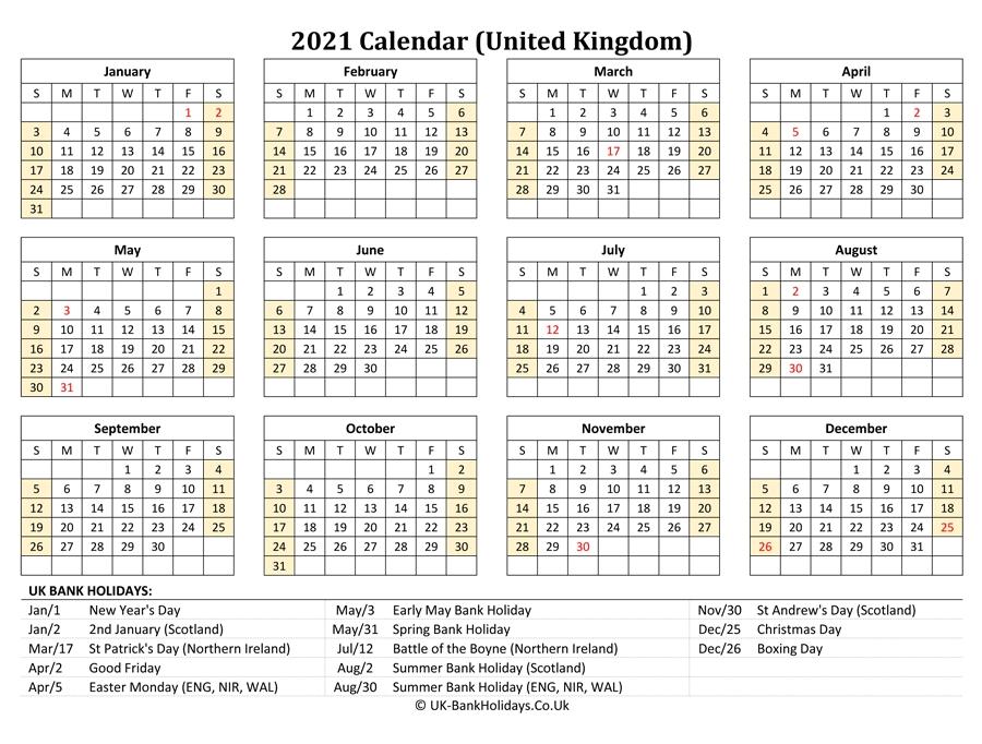 Download 2021 Uk Calendar Printable With Holidays