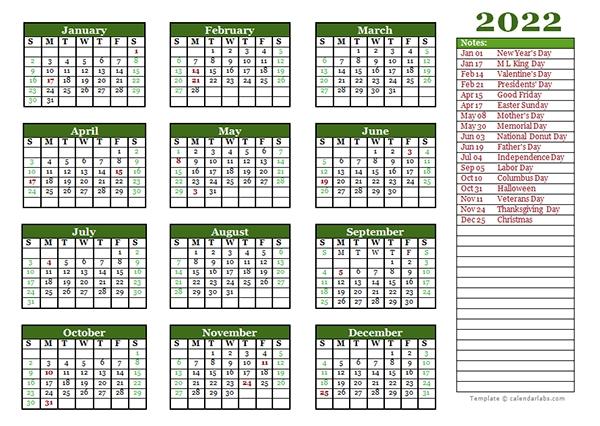Editable 2022 Yearly Calendar Landscape - Free Printable