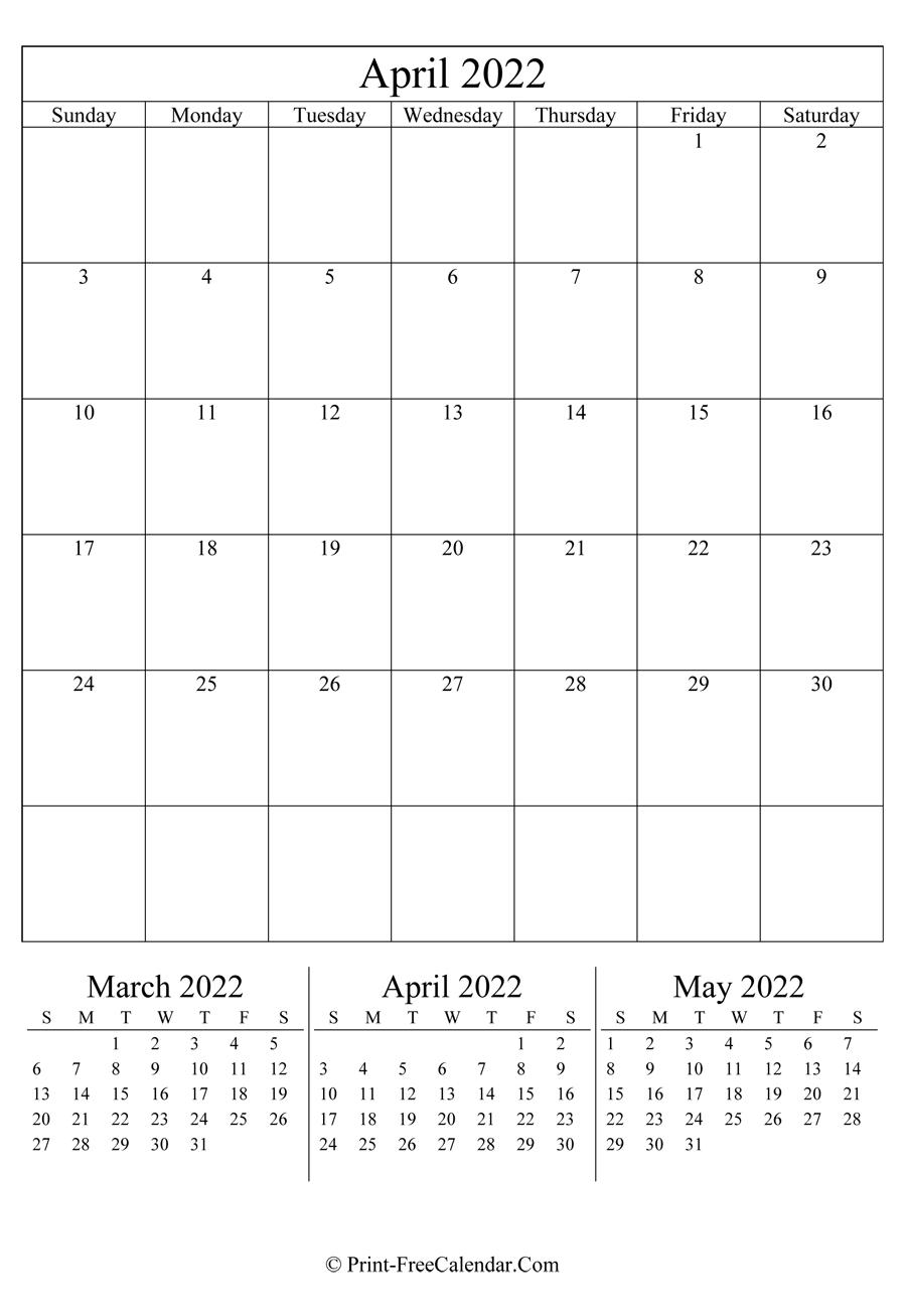 Editable Calendar April 2022 (Portrait Layout)