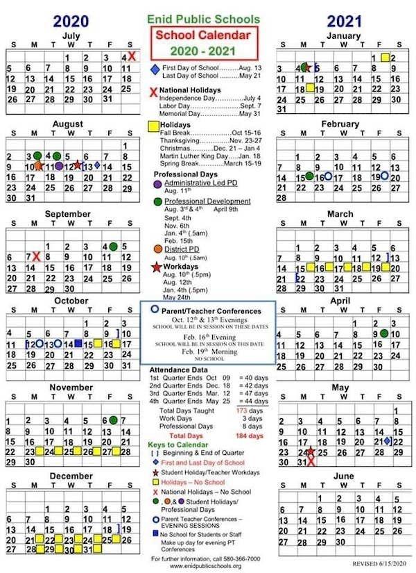 Enid Public Schools Calendar 2021 2022   Printable March