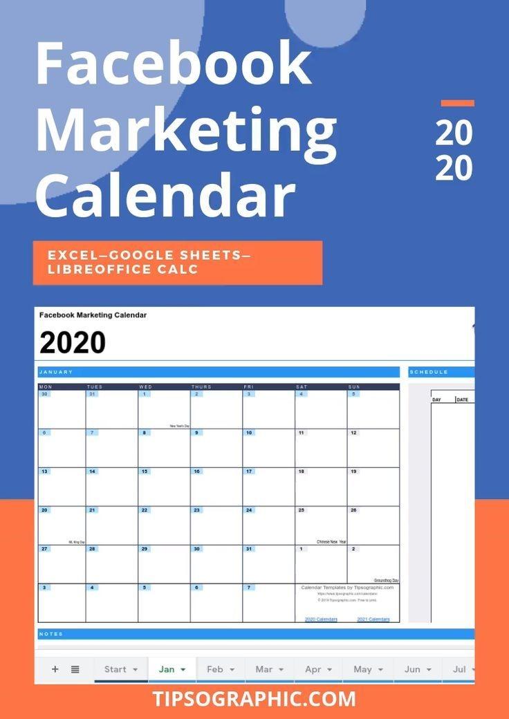 Facebook Marketing Calendar Template For Excel, Free