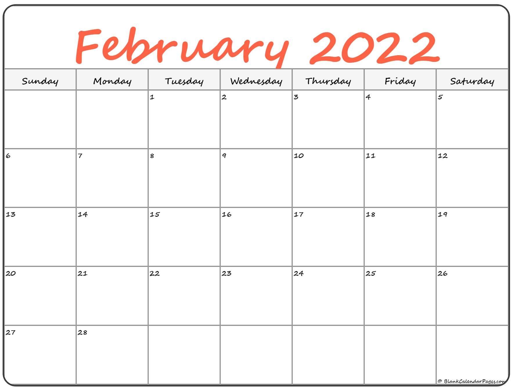 February 2022 Calendar | Free Printable Calendar Templates