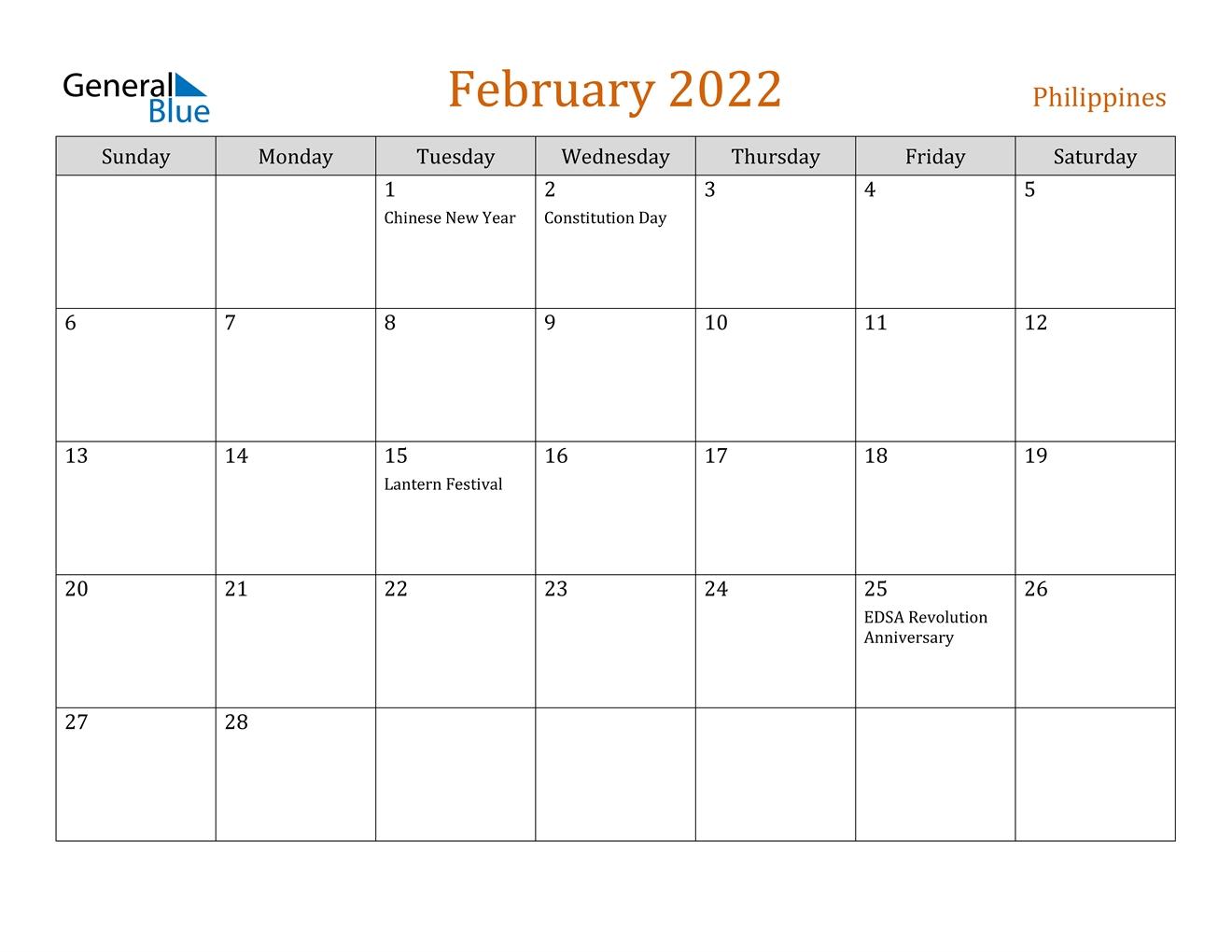 February 2022 Calendar - Philippines