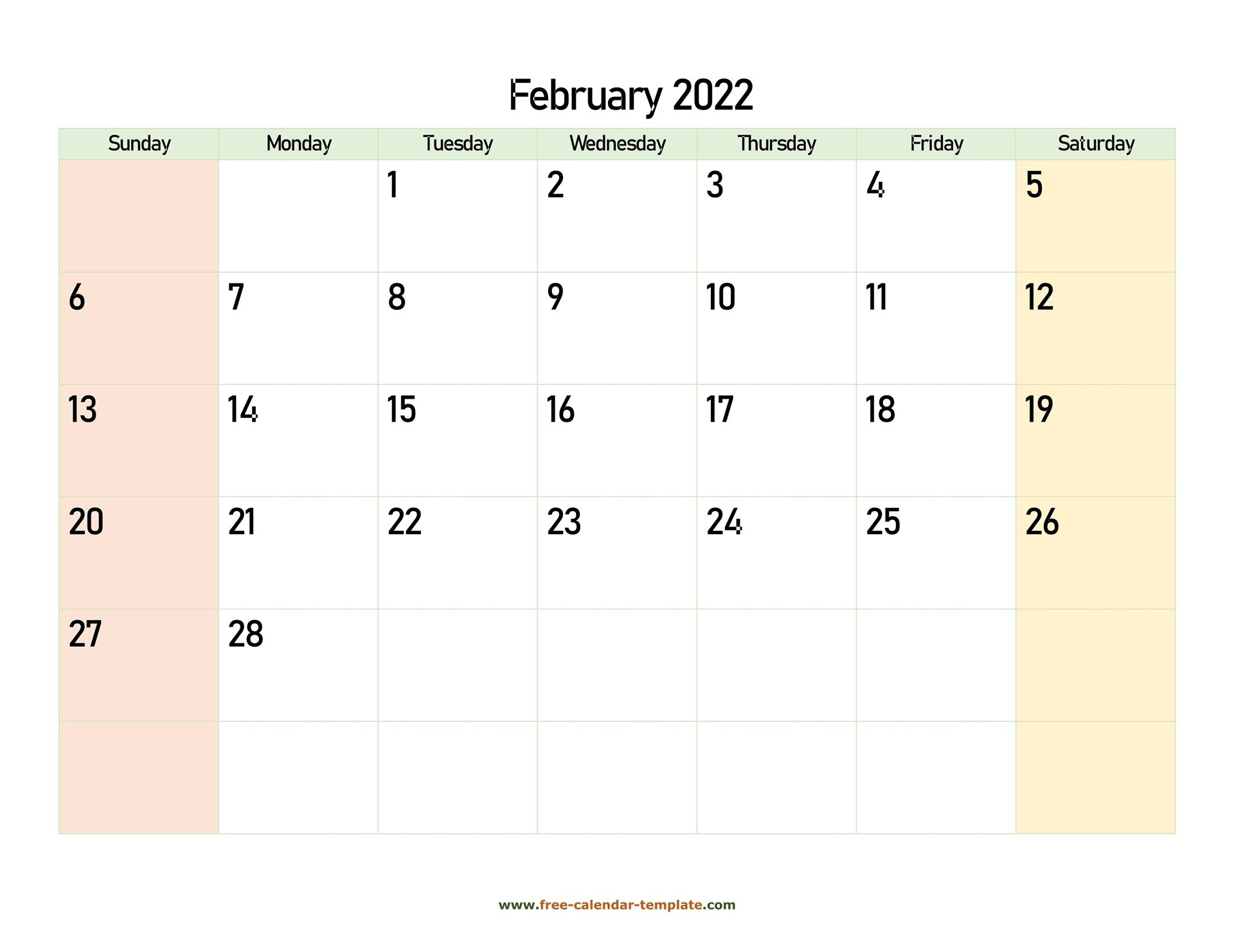 February 2022 Free Calendar Tempplate | Free-Calendar