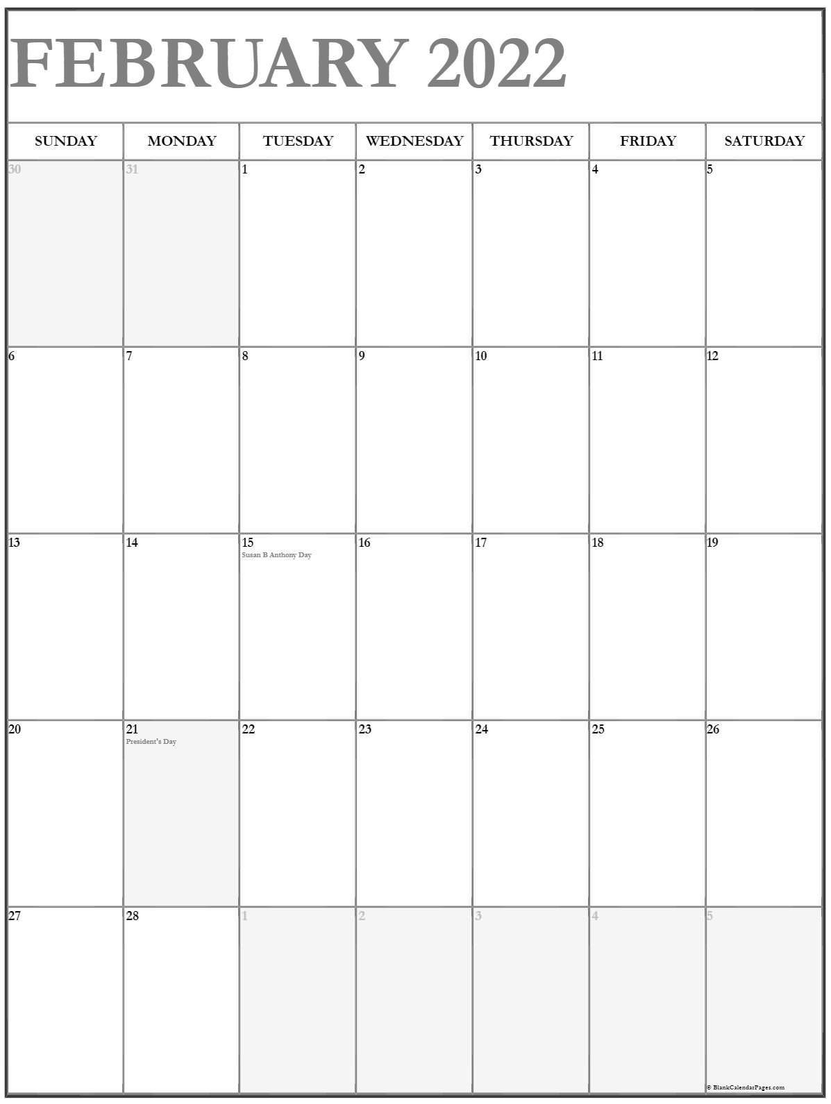 February 2022 Vertical Calendar | Portrait