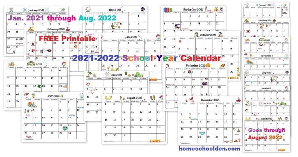 Free 2020-2021 Calendar Printable - Homeschool Den