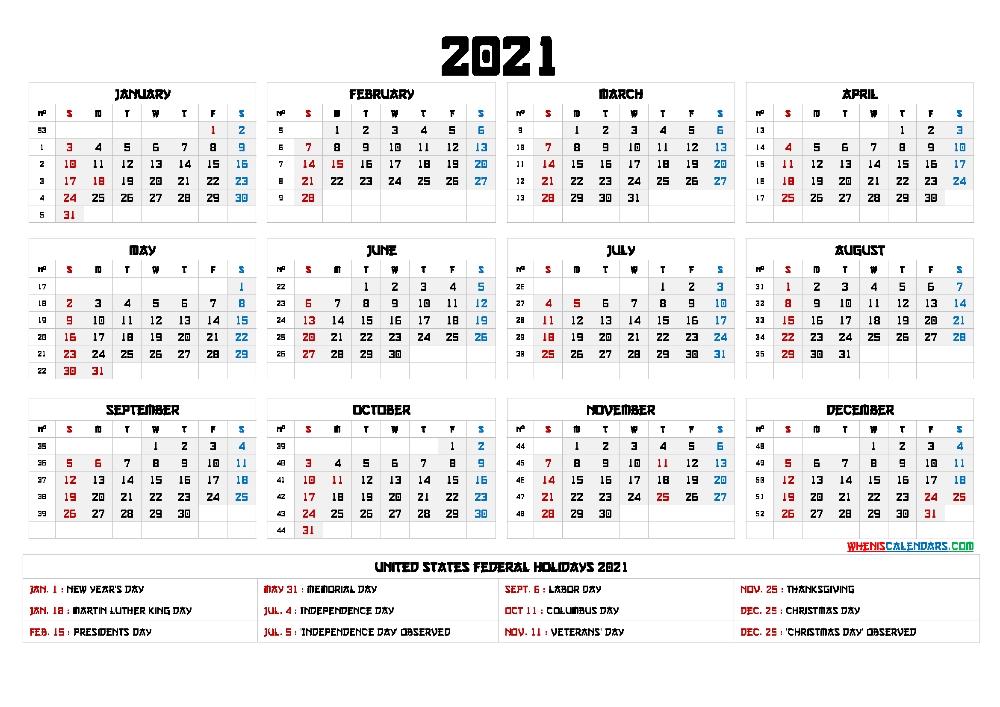 Free 2021 Calendar Printable With Holidays - 12 Templates