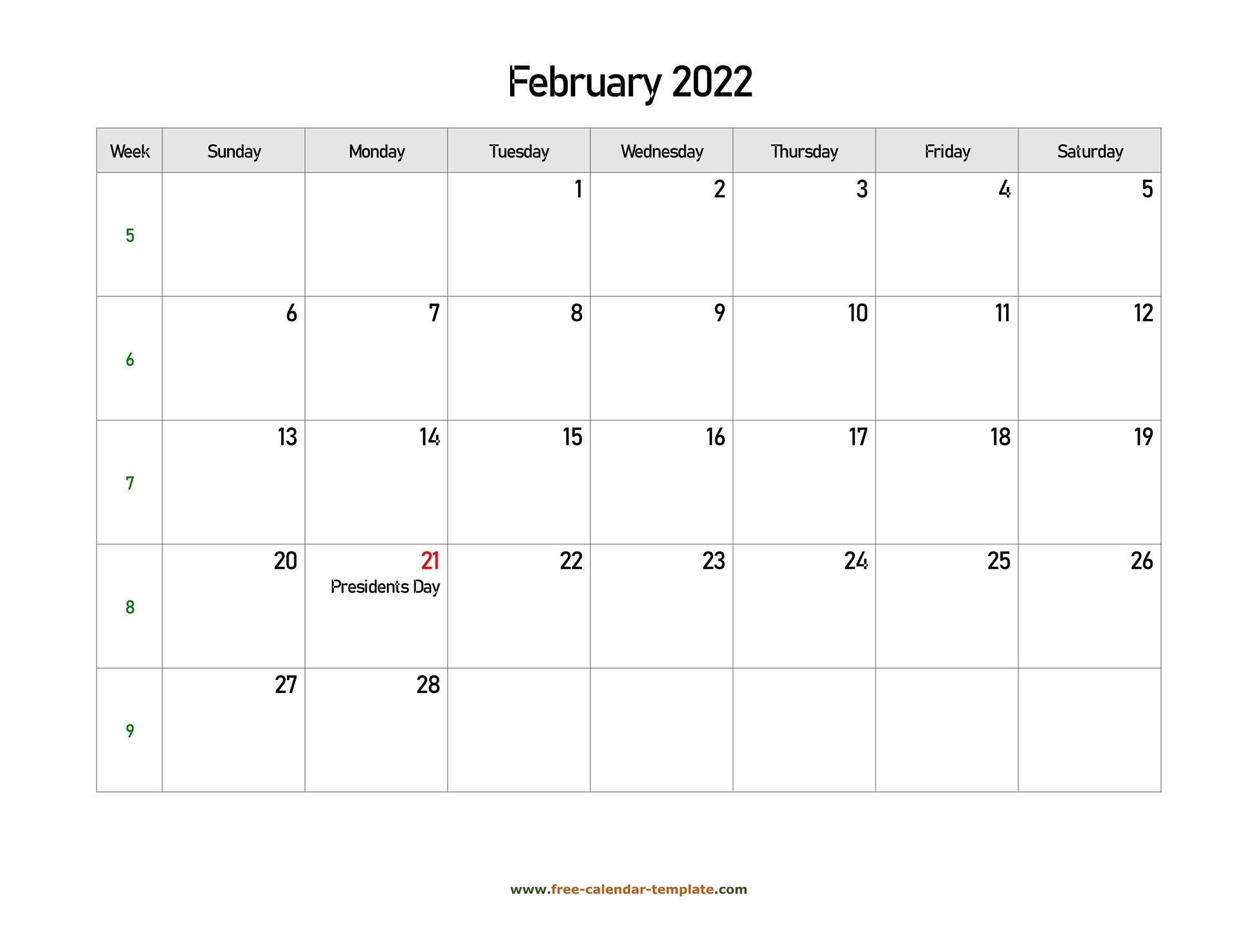 Free 2022 Calendar Blank February Template (Horizontal