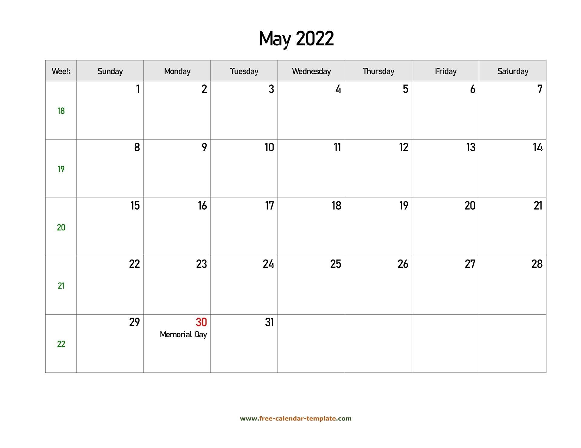 Free 2022 Calendar Blank May Template (Horizontal)   Free