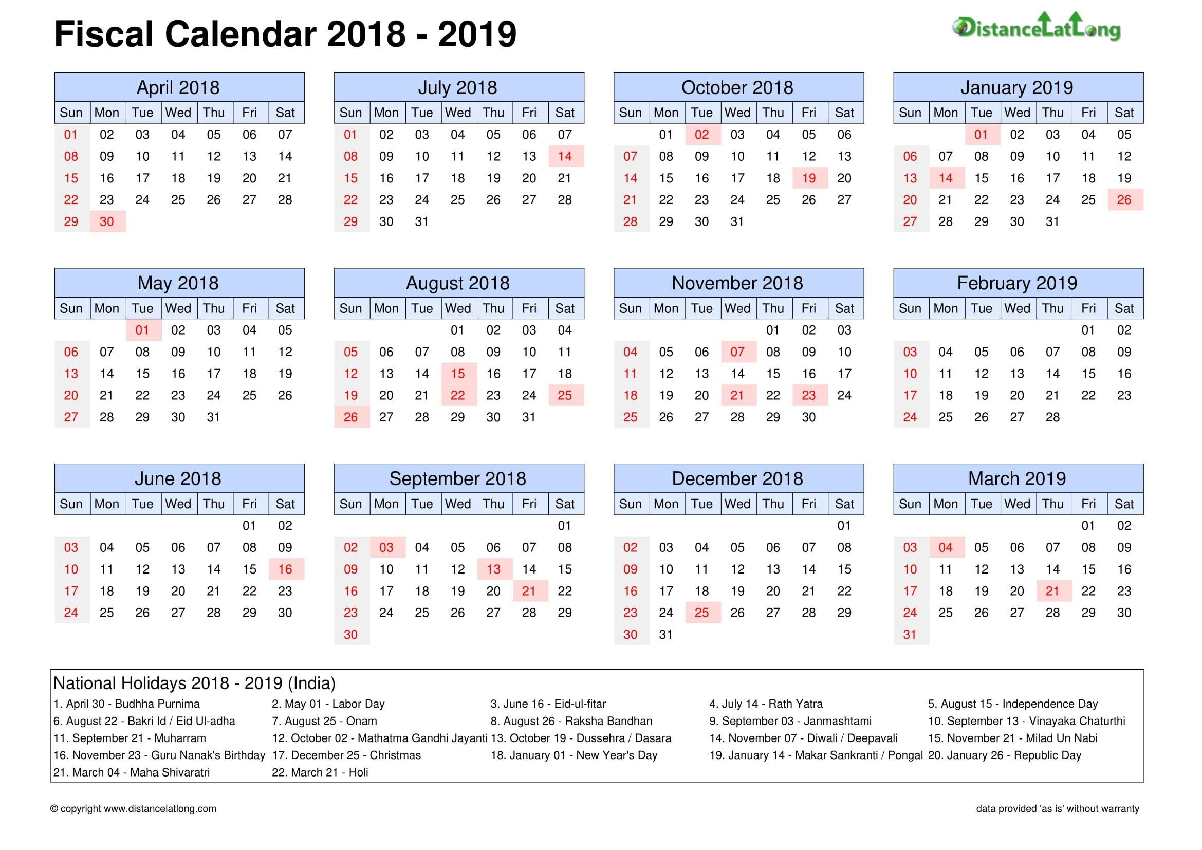 Free India Fiscal Holidays Printable Calendar Template