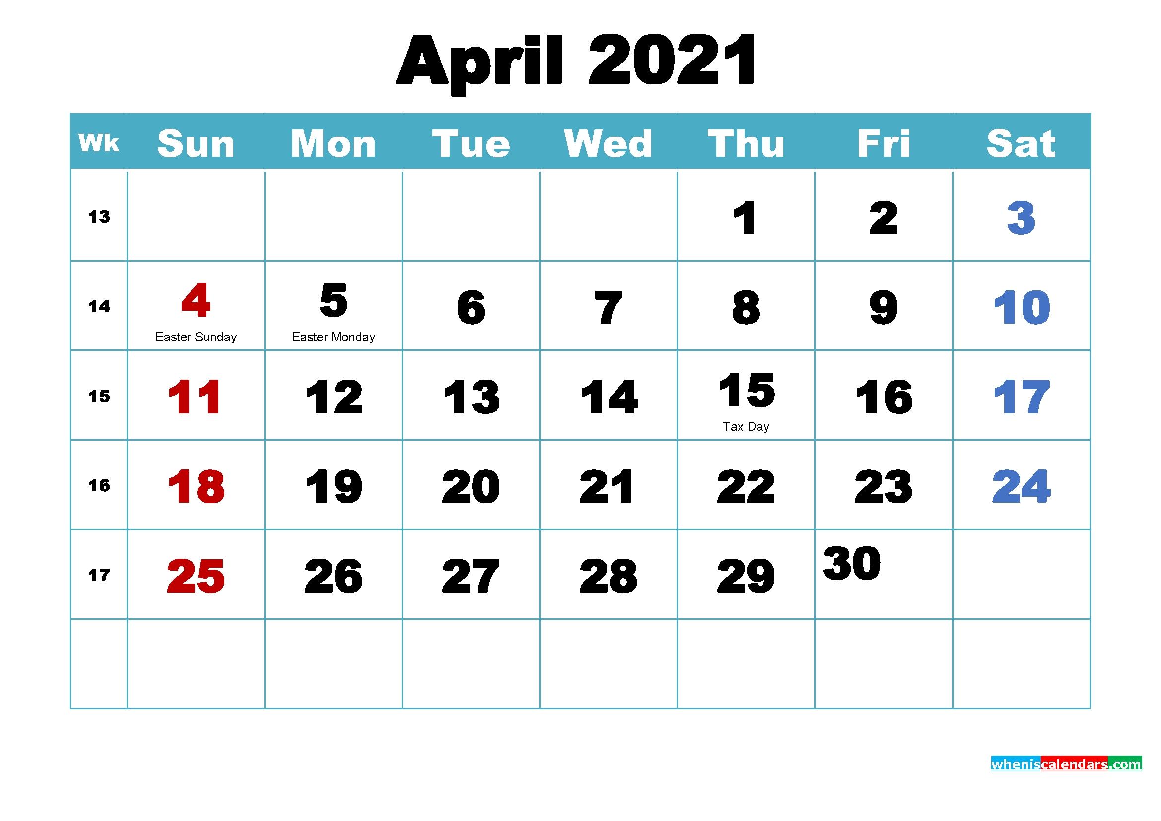 Free Printable 2021 Calendar April As Word, Pdf