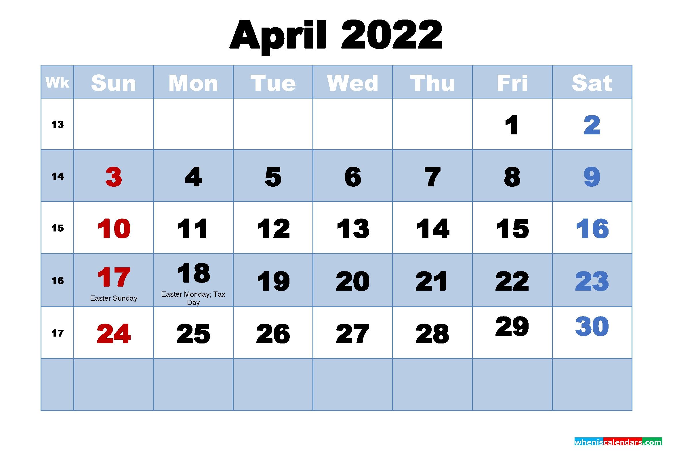 Free Printable 2022 Calendar April As Word, Pdf