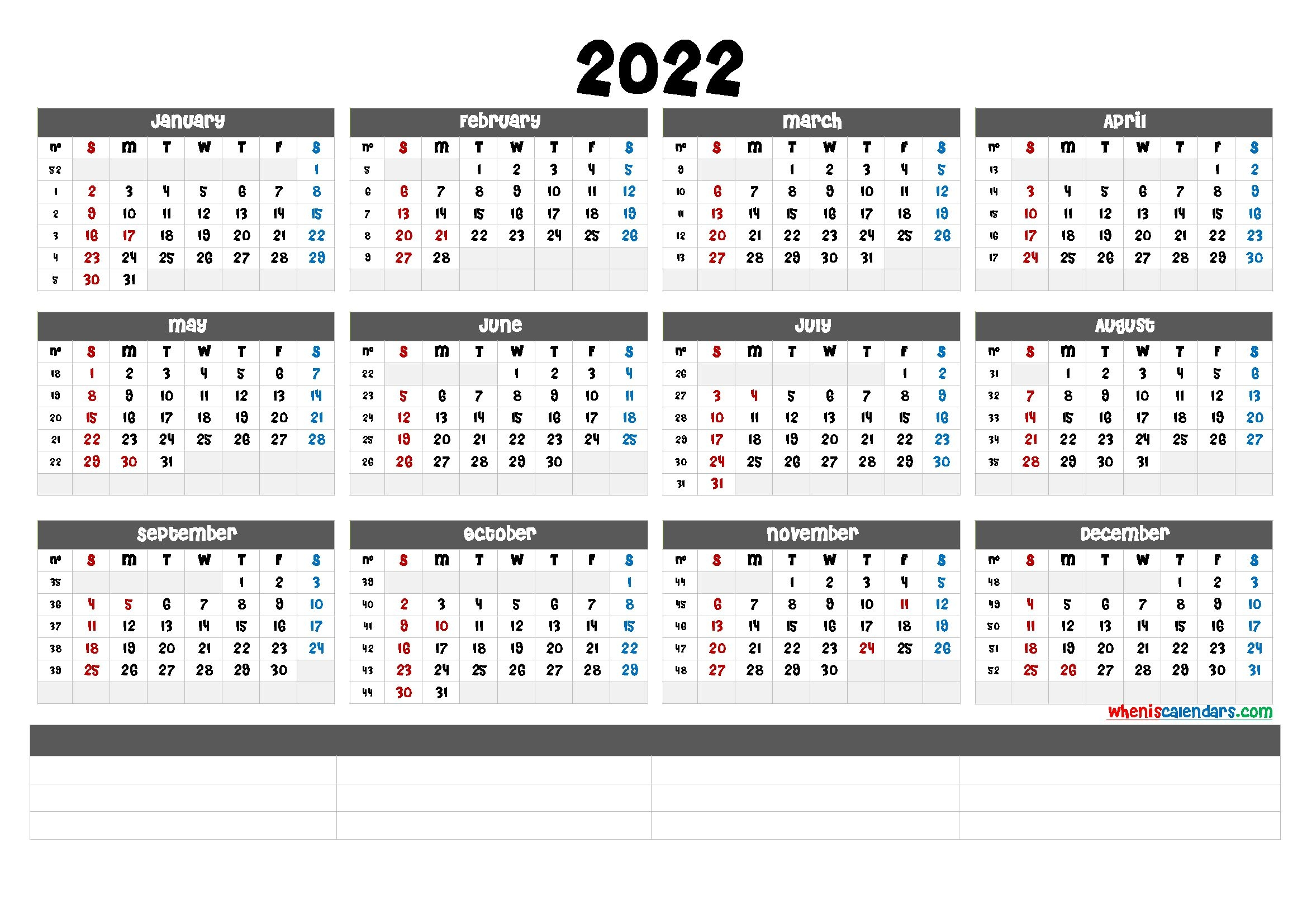 Free Printable 2022 Calendar By Month (6 Templates) - Free