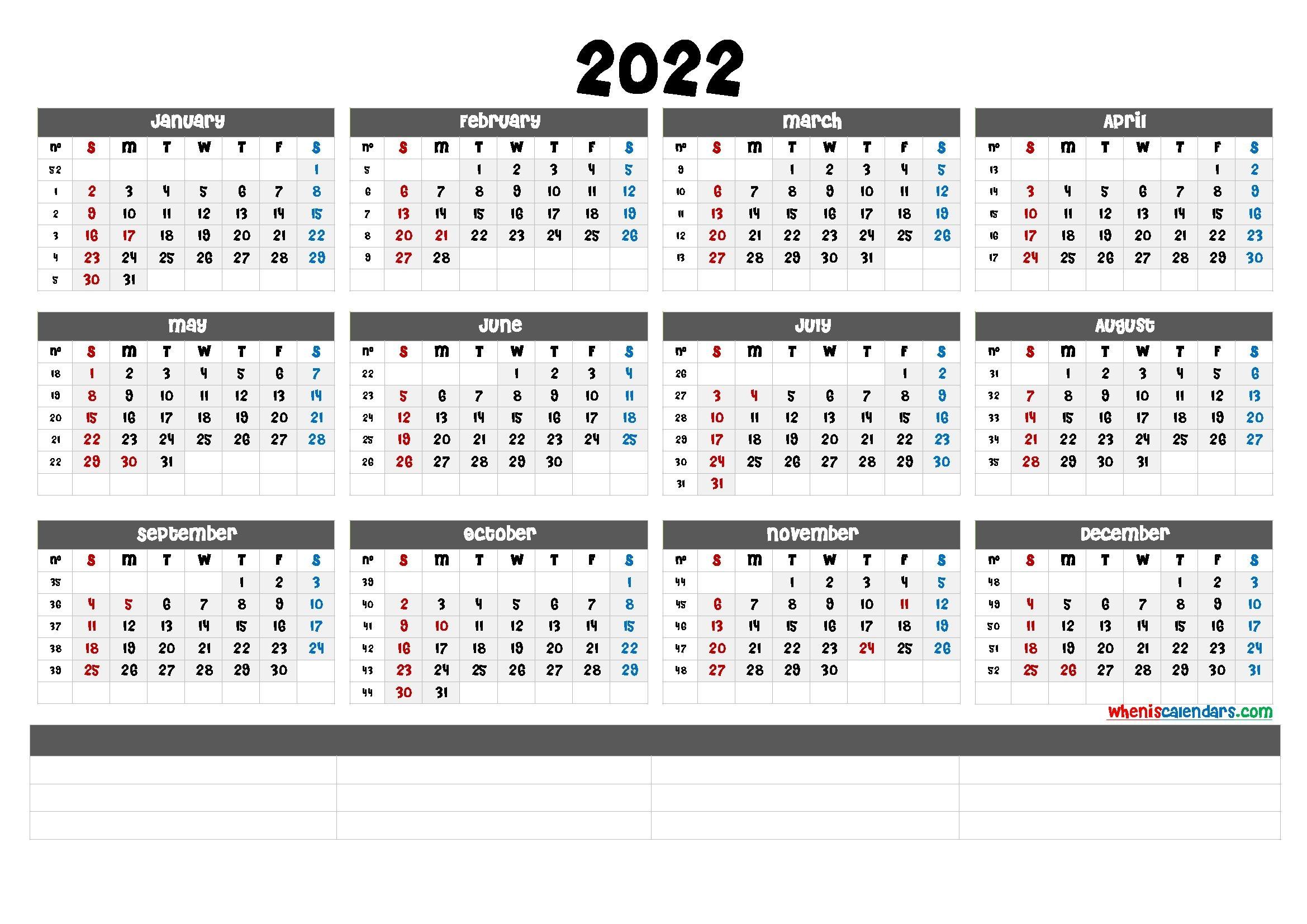 Free Printable 2022 Calendar By Month - Calendarex