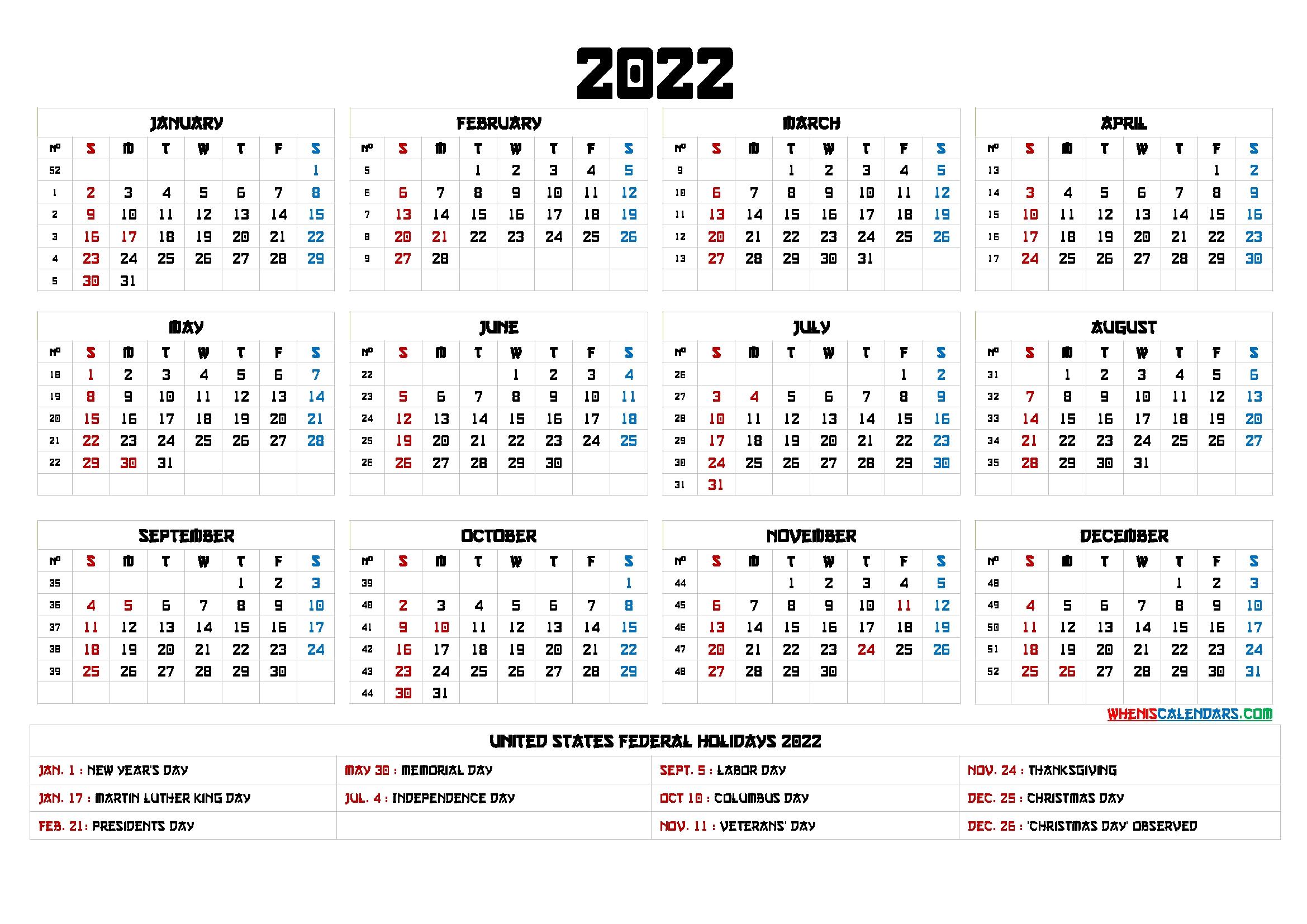 Free Printable 2022 Calendar Templates - 6 Templates