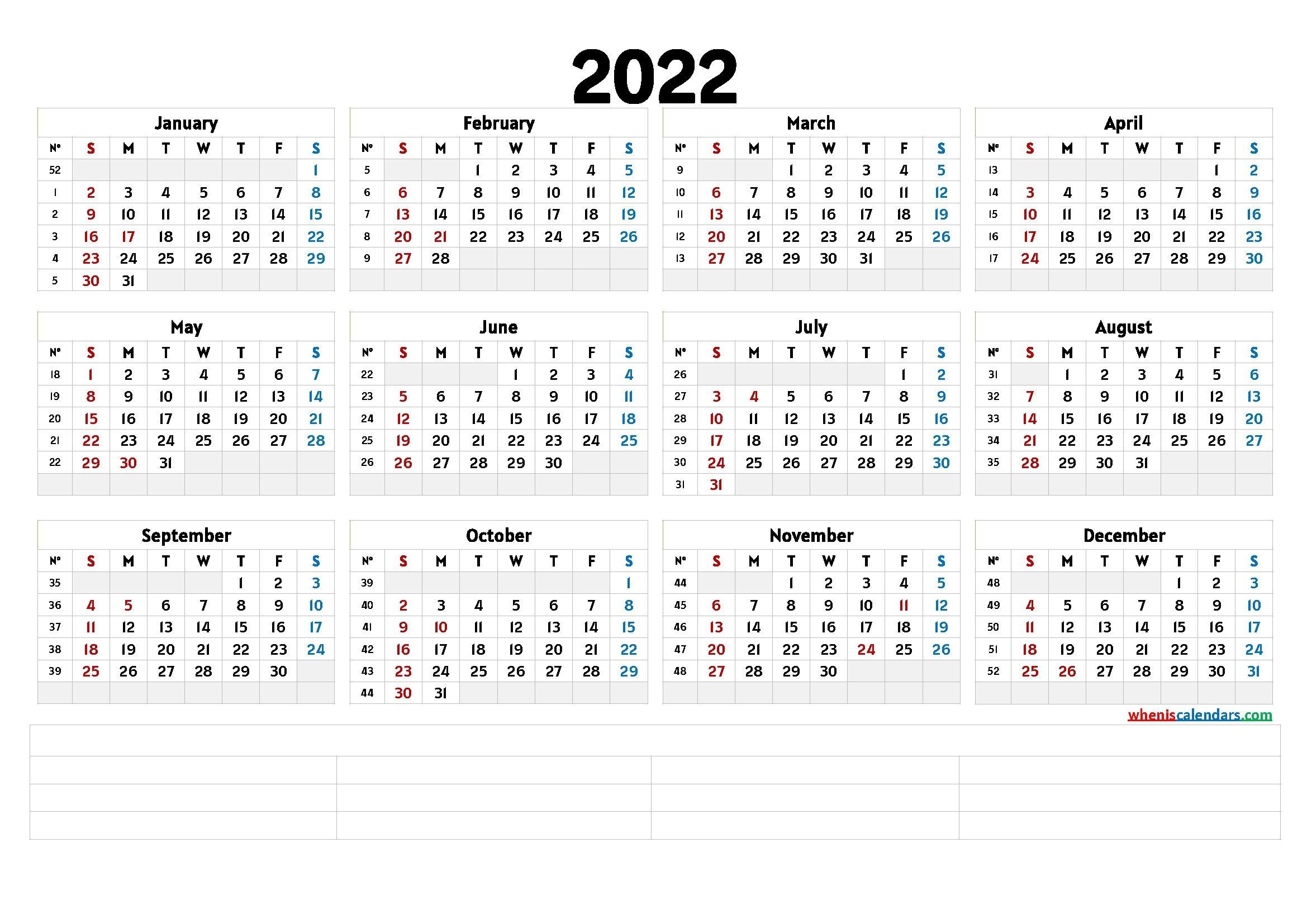 Free Printable 2022 Calendar Templates - Calendraex