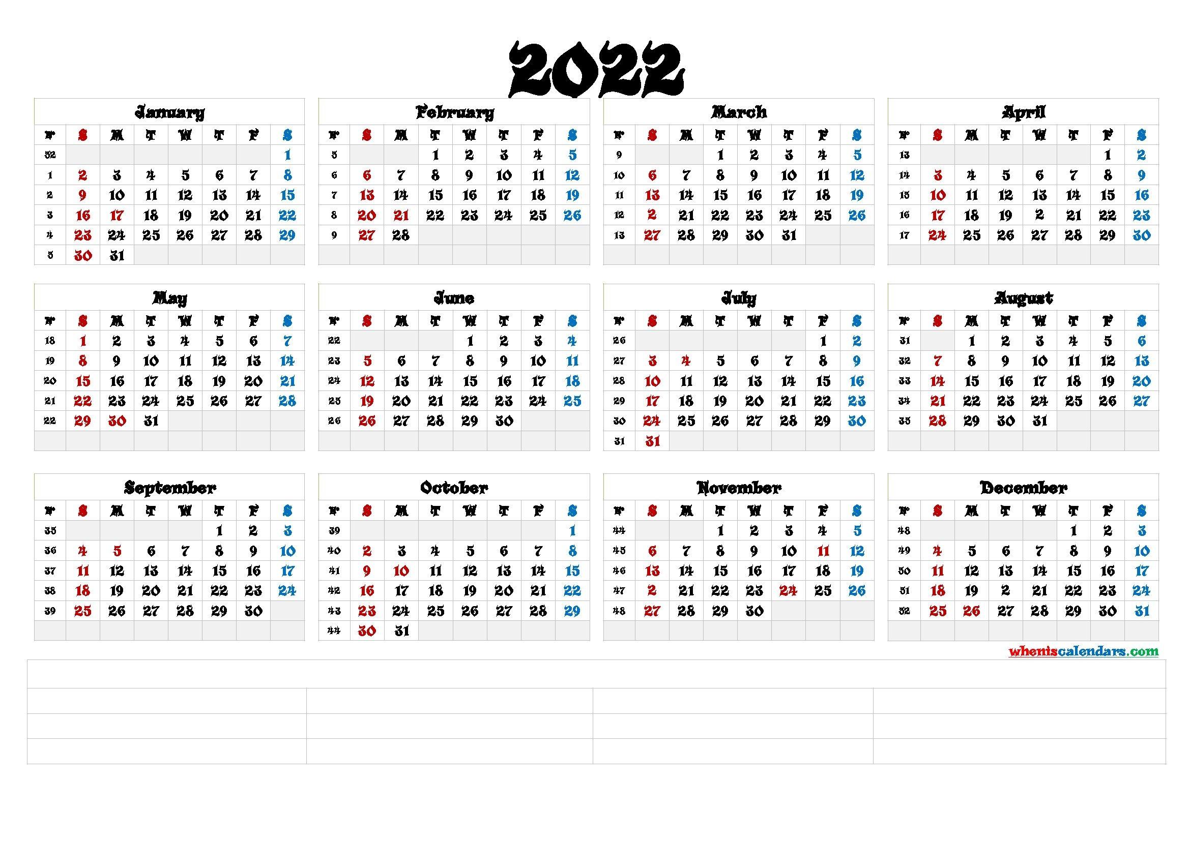 Free Printable 2022 Calendar Templates [Premium Templates]