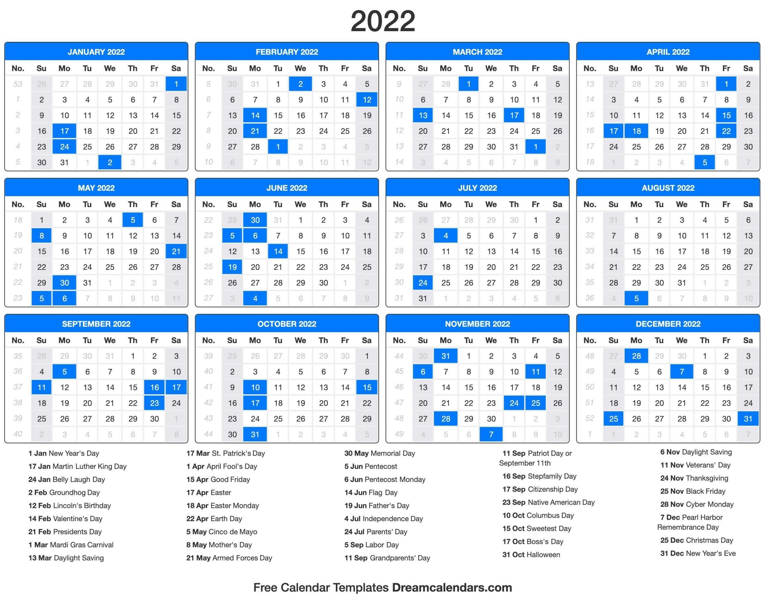 Free Printable 2022 Calendar With Holidays   Printable
