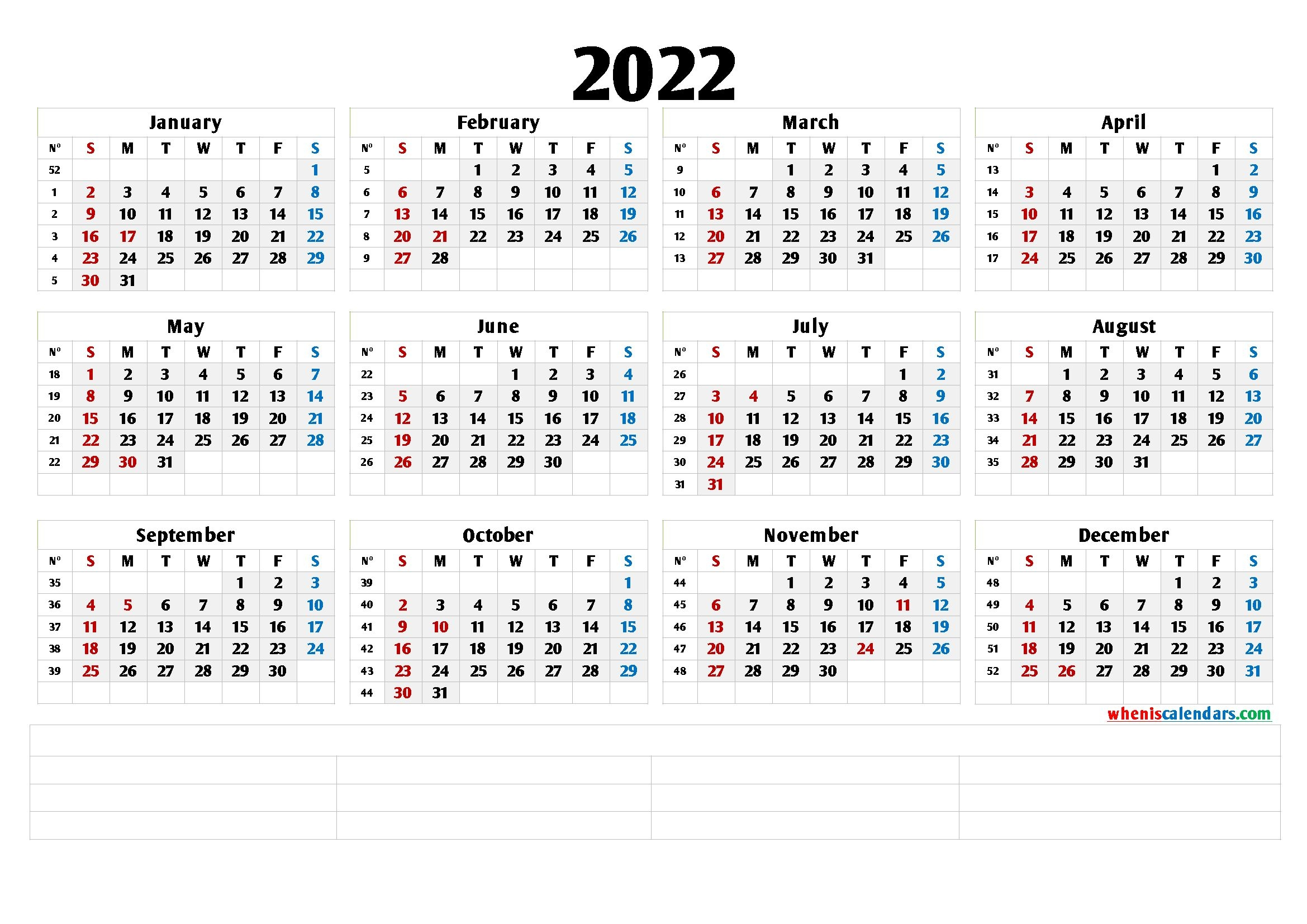 Free Printable 2022 Yearly Calendar - Calendraex