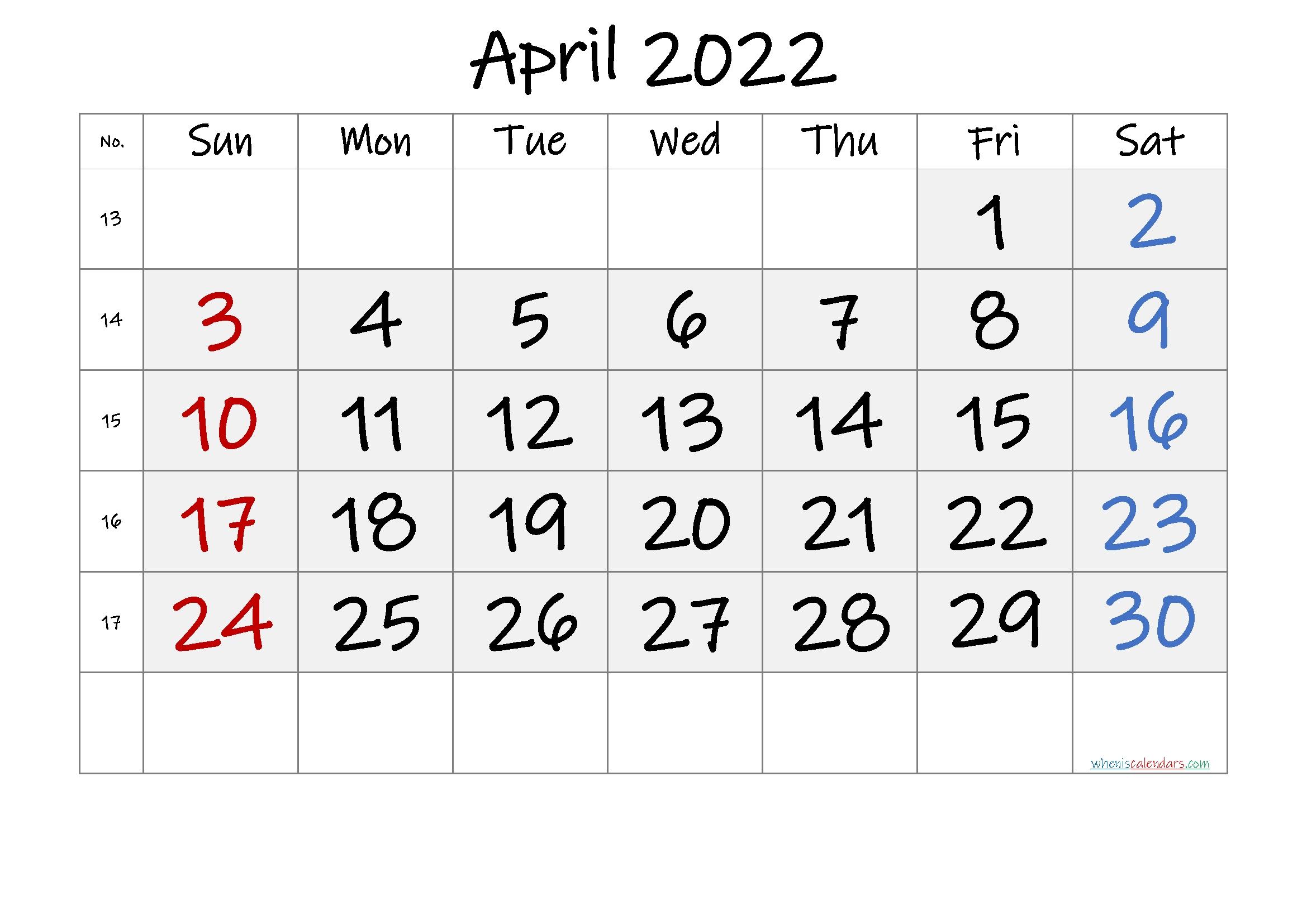 Free Printable April 2022 Calendar - Font: Ink Free