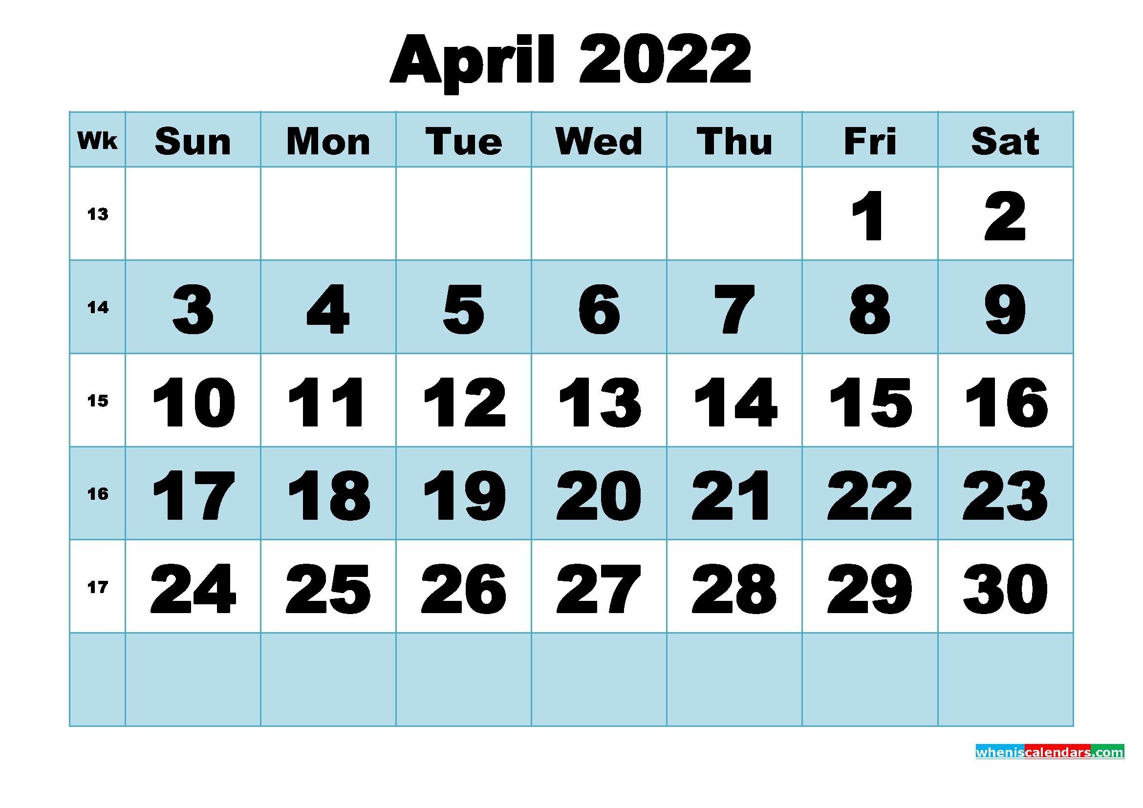Free Printable April 2022 Calendar Word, Pdf, Image