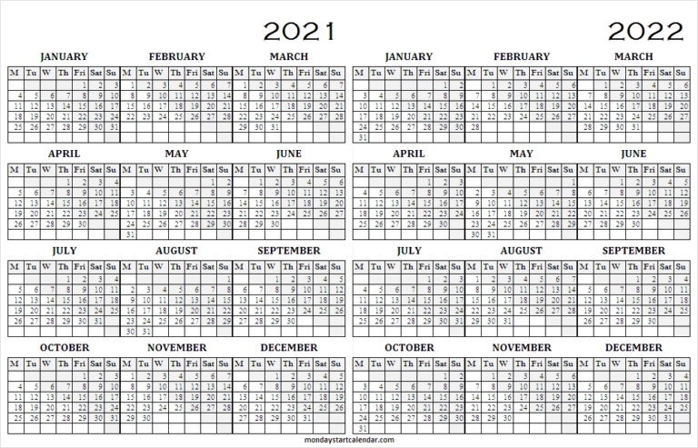 Free Printable Calendar 2021 To 2022 | Editable Calendar