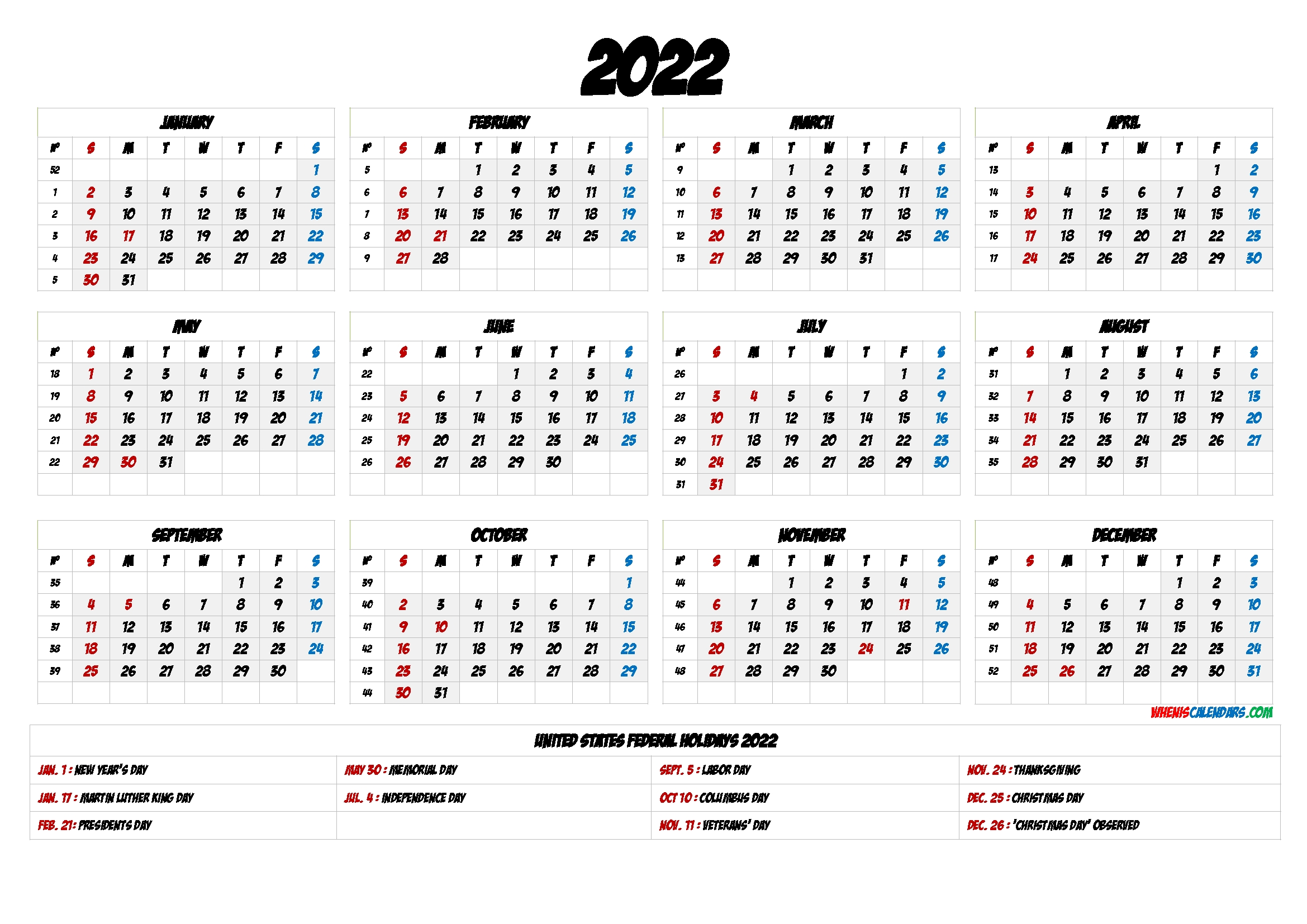 Free Printable Calendar 2022 With Holidays   Printable