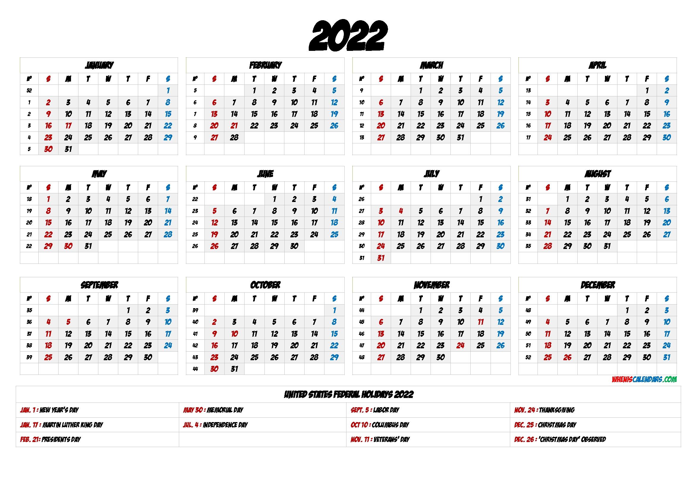 Free Printable Calendar 2022 With Holidays | Printable