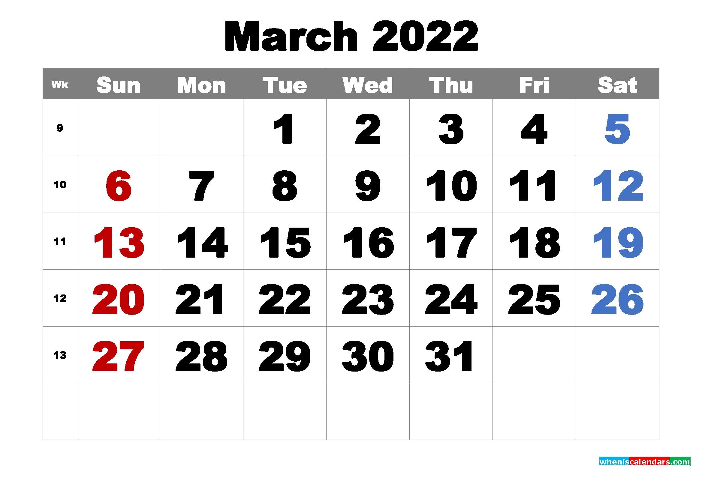 Free Printable March 2022 Calendar Word, Pdf, Image   Free