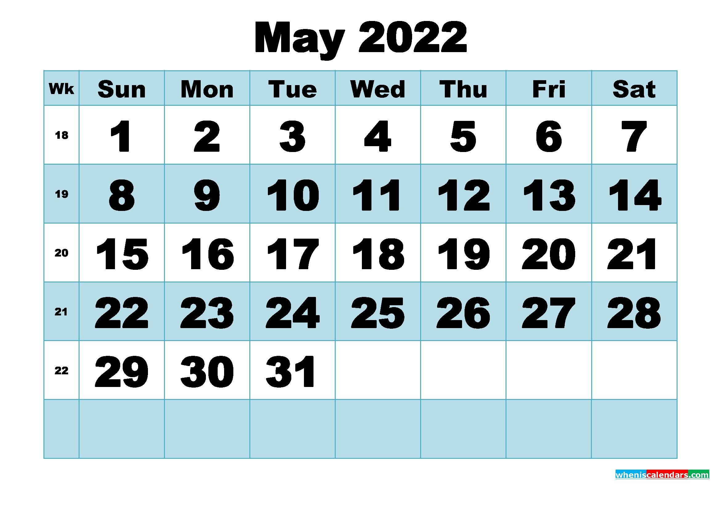 Free Printable May 2022 Calendar Word, Pdf, Image   Free