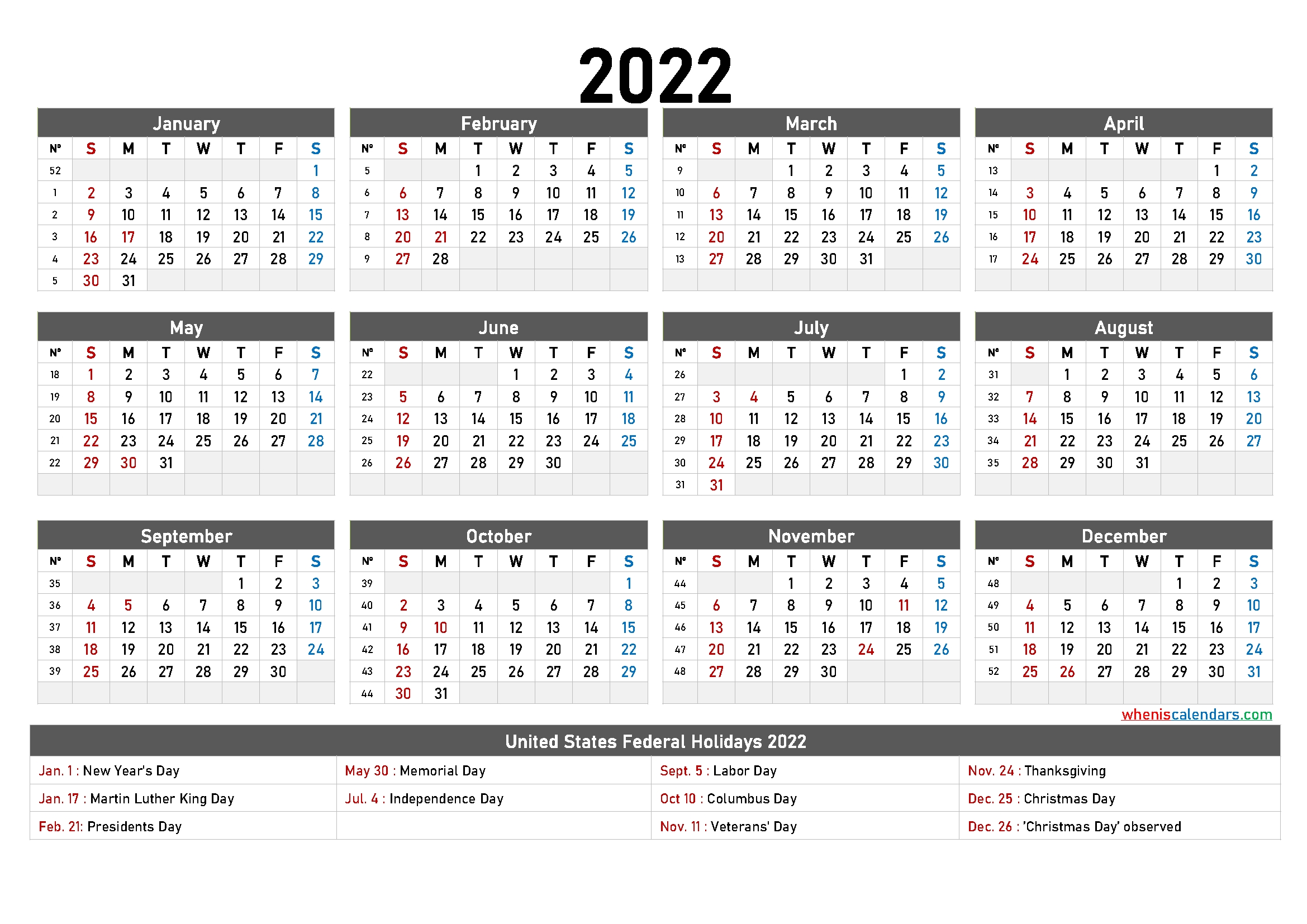 Free Printable Yearly Calendar 2022 - 9 Templates