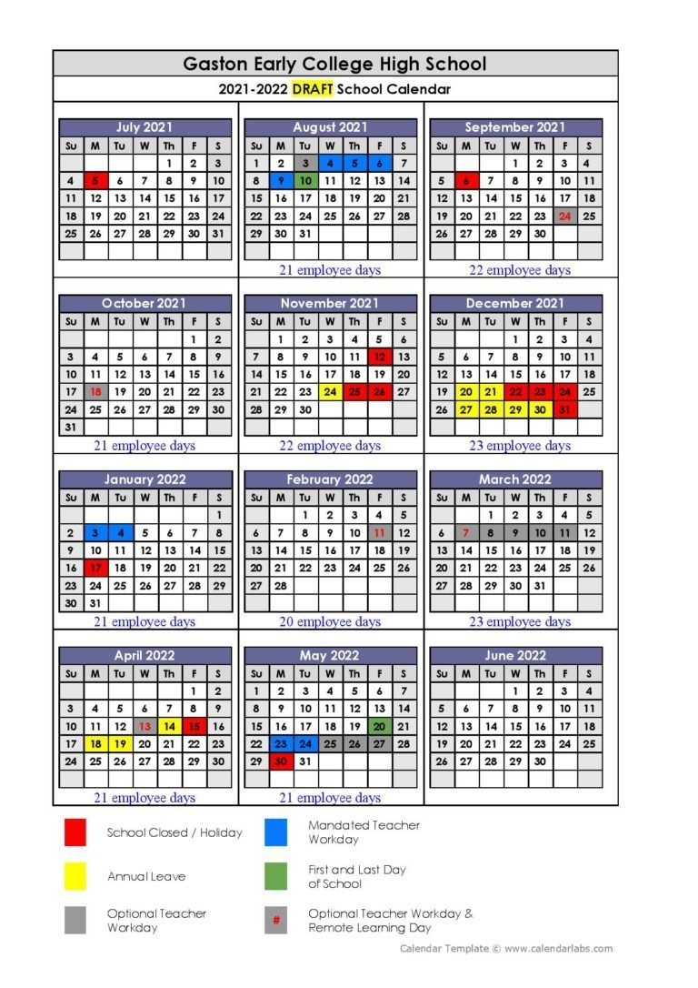 Gaston County Schools Calendar 2021-2022 In Pdf