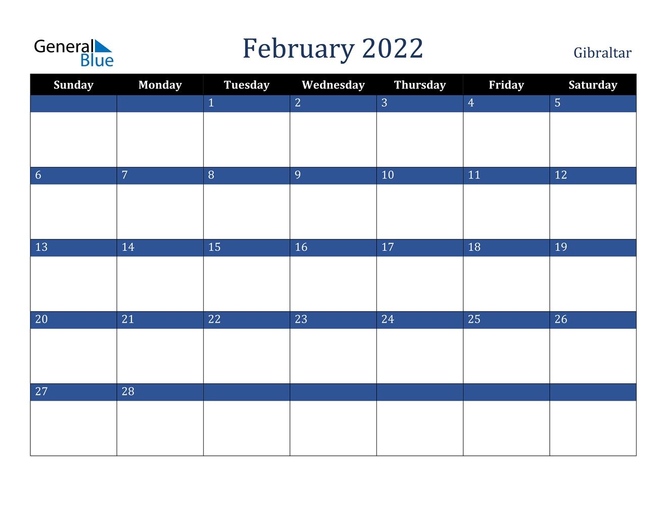 Gibraltar February 2022 Calendar With Holidays