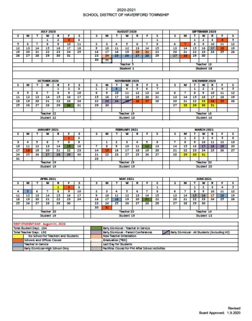 Haverford Academic Calendar 2021 2022   Printable March