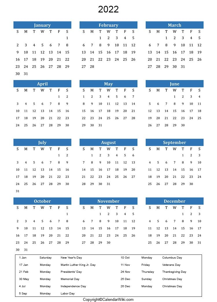 Holidays 2022 - Calendarwiki