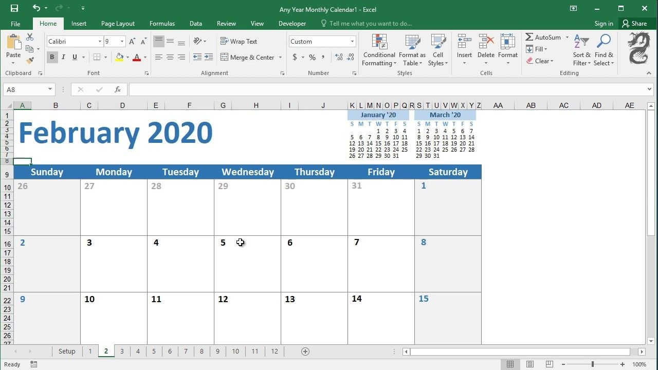 How To Create A Calendar Planner In Excel - Youtube