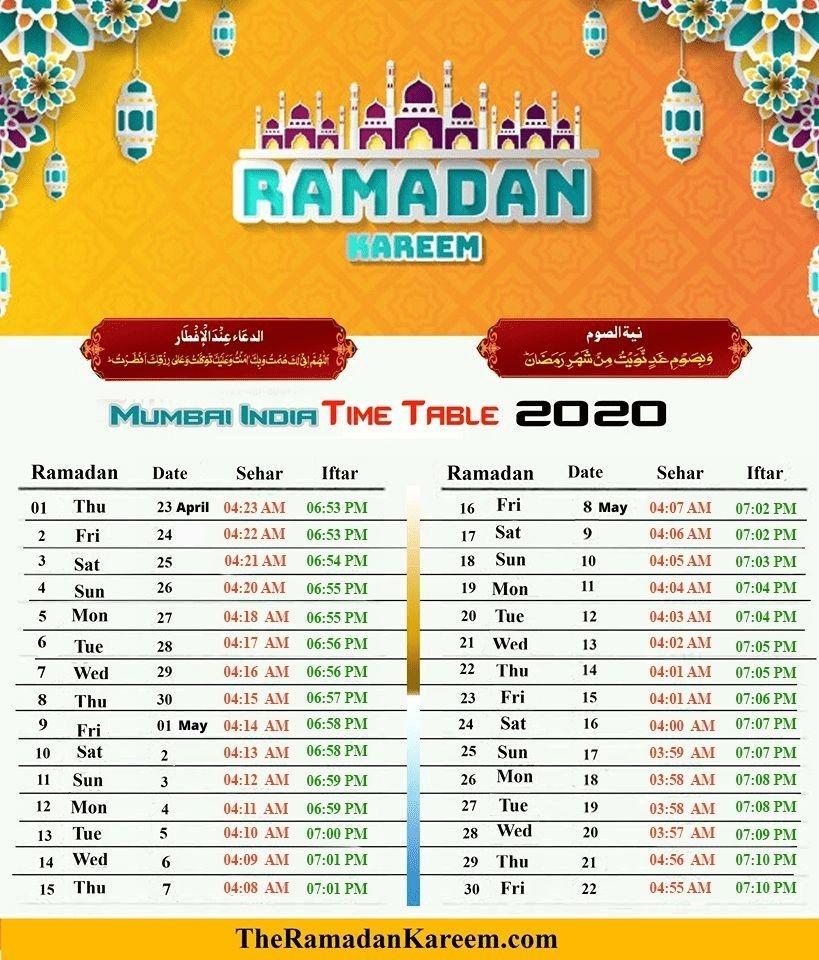 India Ramadan Timetable - Fasting Timing, Prayer Time