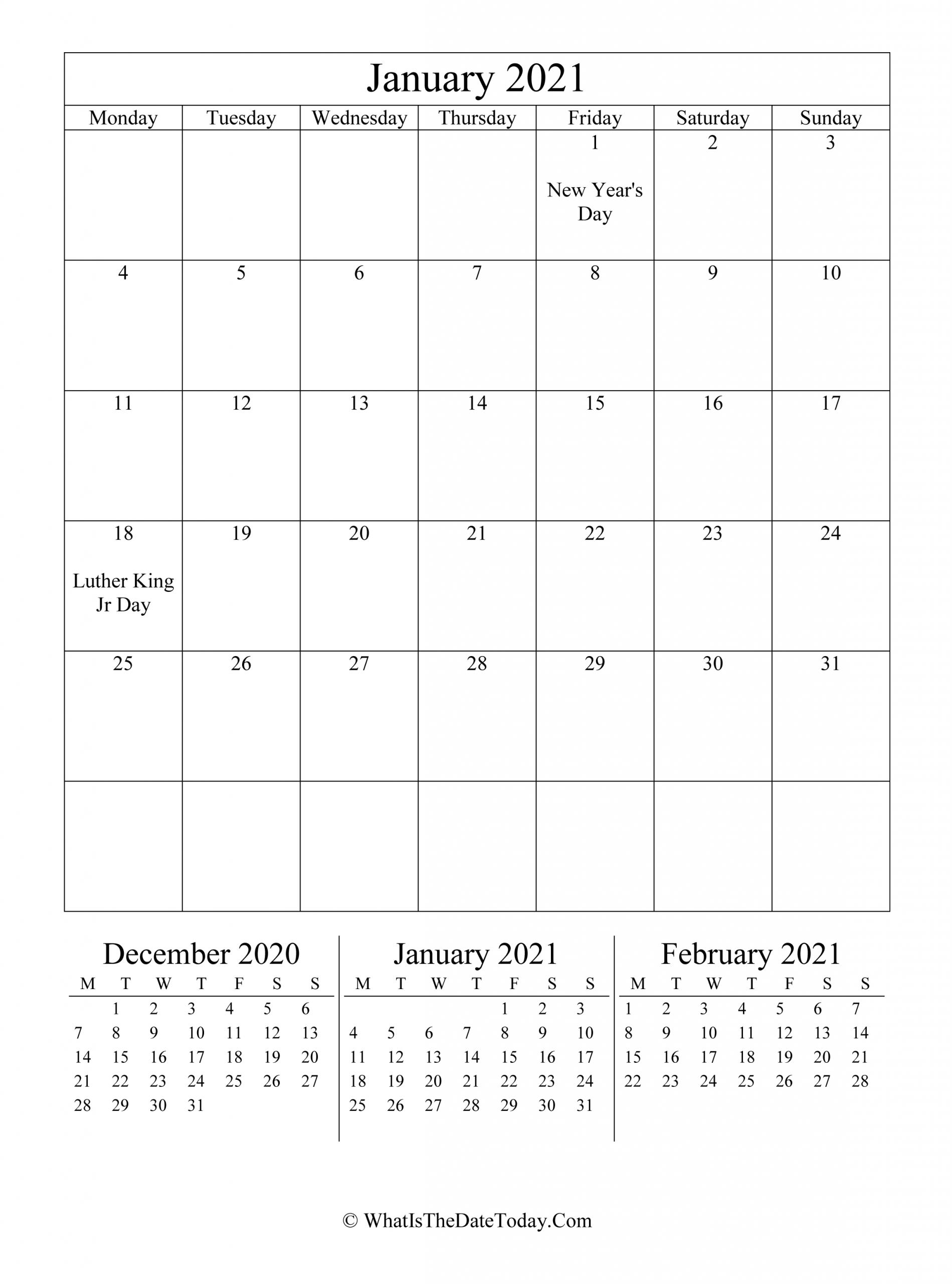 January 2021 Editable Calendar (Vertical Layout