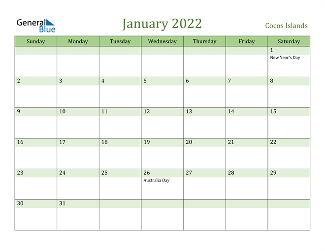 January 2022 Calendar - Cocos Islands